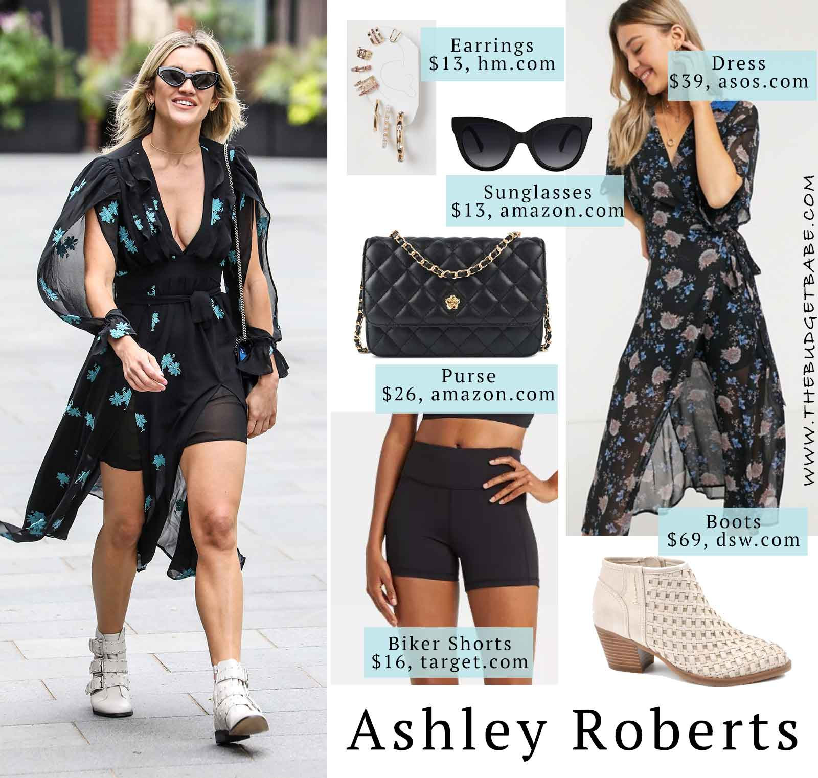 Ashley Roberts chiffon floral wrap split sleeve top with white buckle ankle boots