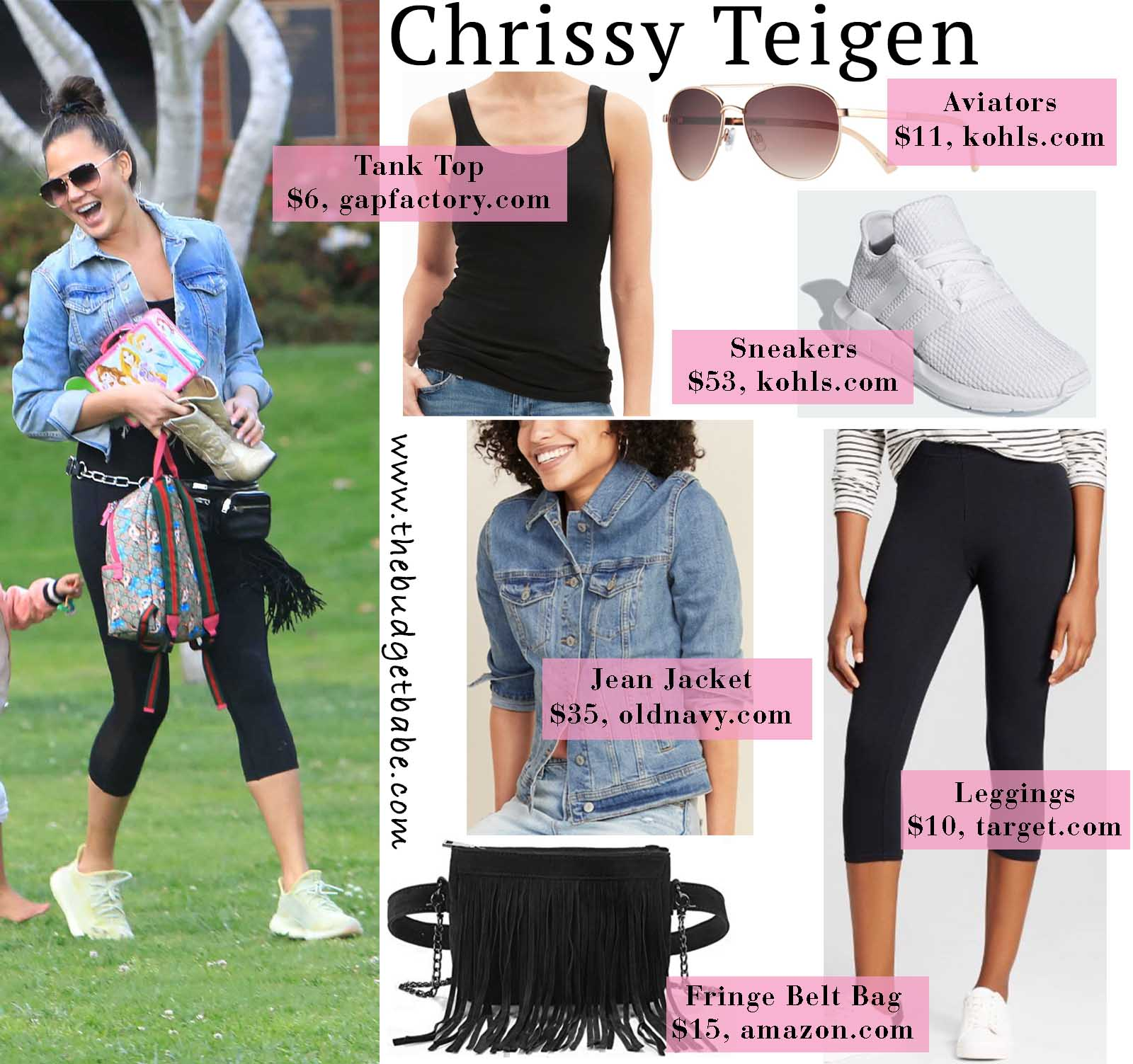Chrissy Teigen is casual chic in this fun outfit!