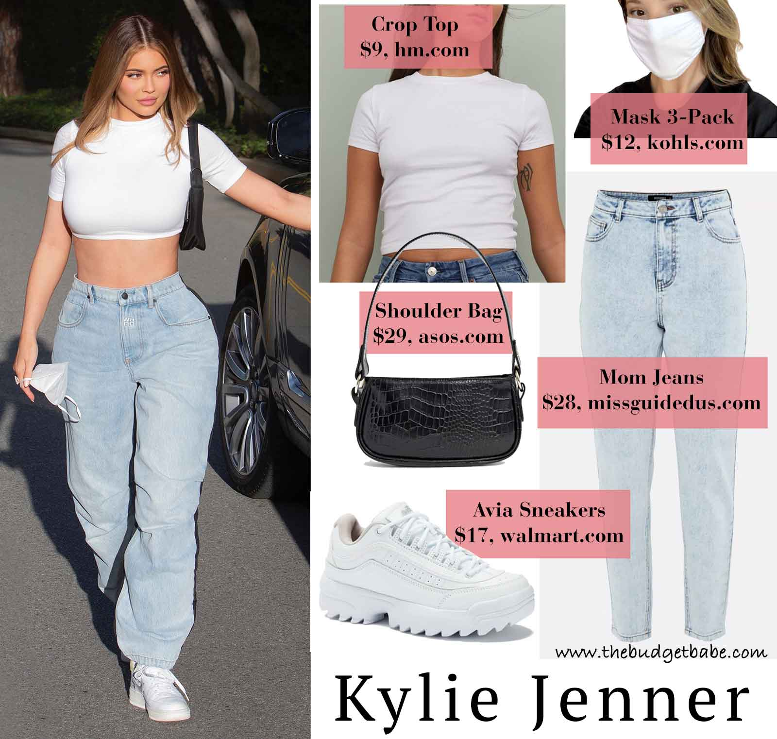 Kylie Jenner's mom jeans and Nike Air Force 1 look for less