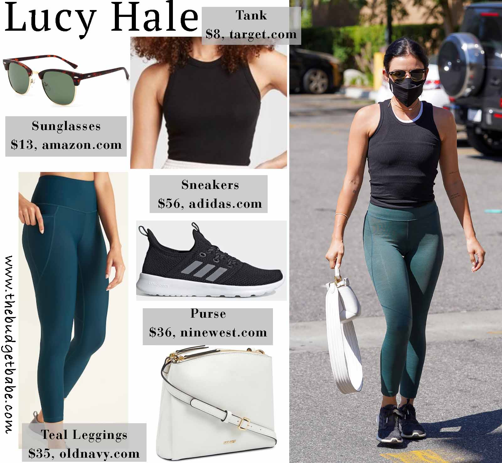 Get The Look: Lucy Hale's Teal Activewear Leggings and Adidas Edge 3 Lux Sneakers