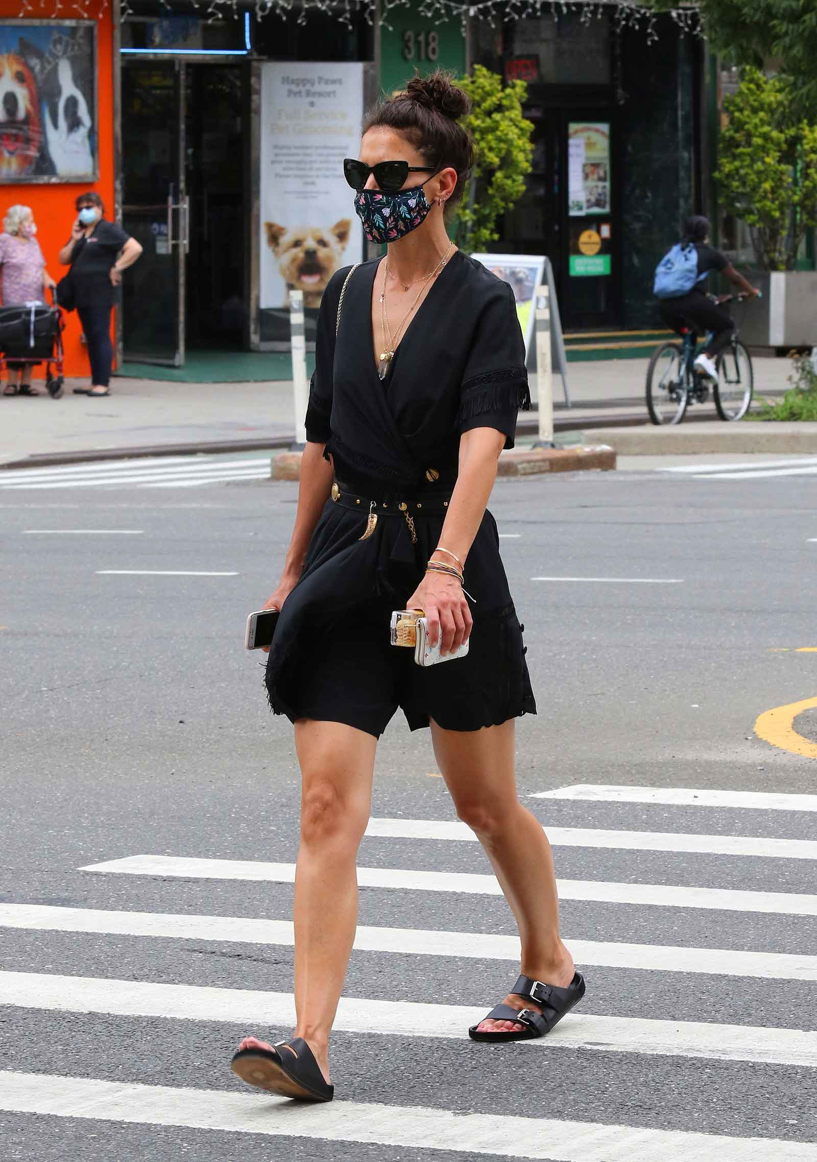Katie Holmes looks chic in a black romper while out and about in NYC