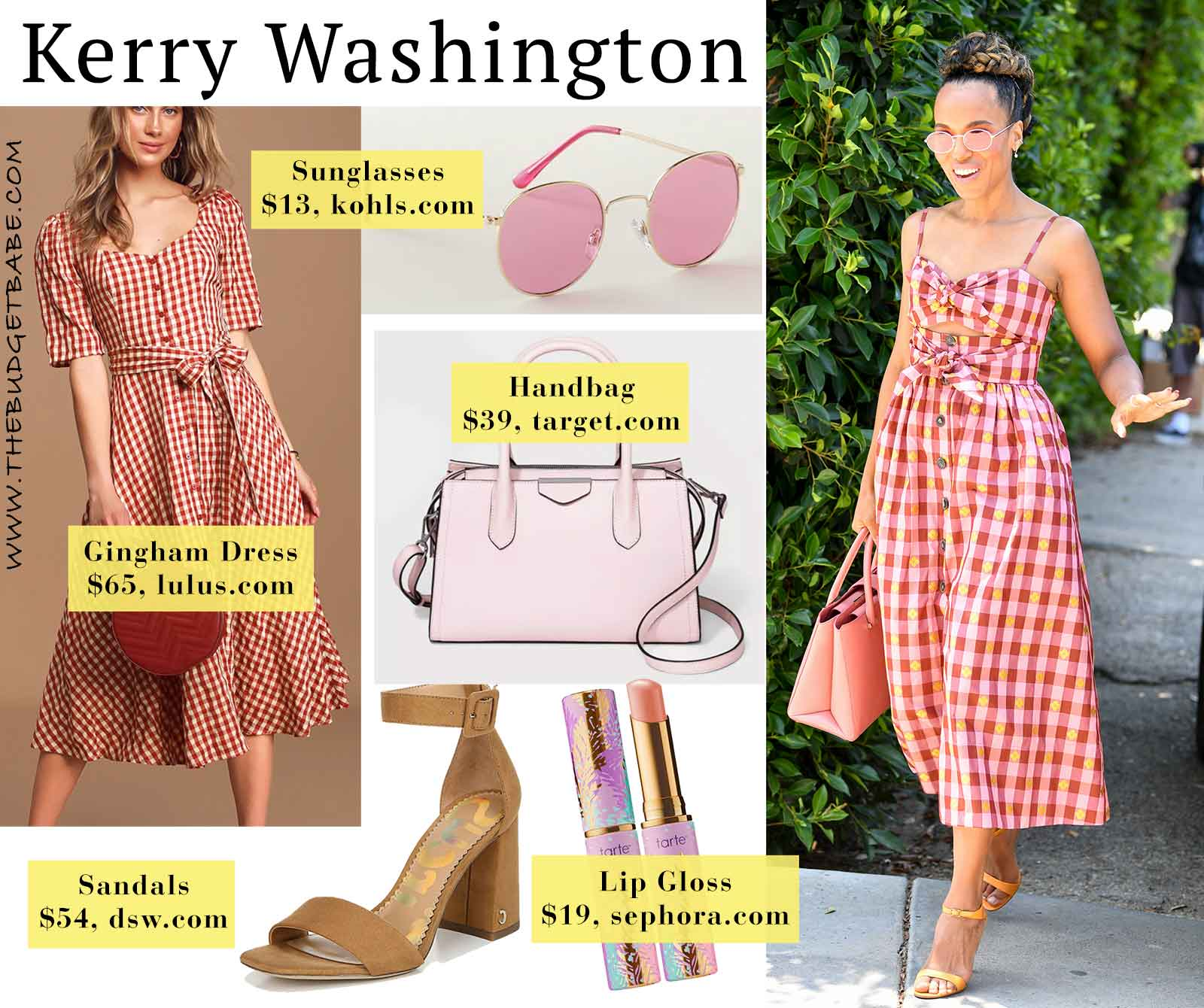 Kerry Washington's gingham dress and strappy sandals look for less