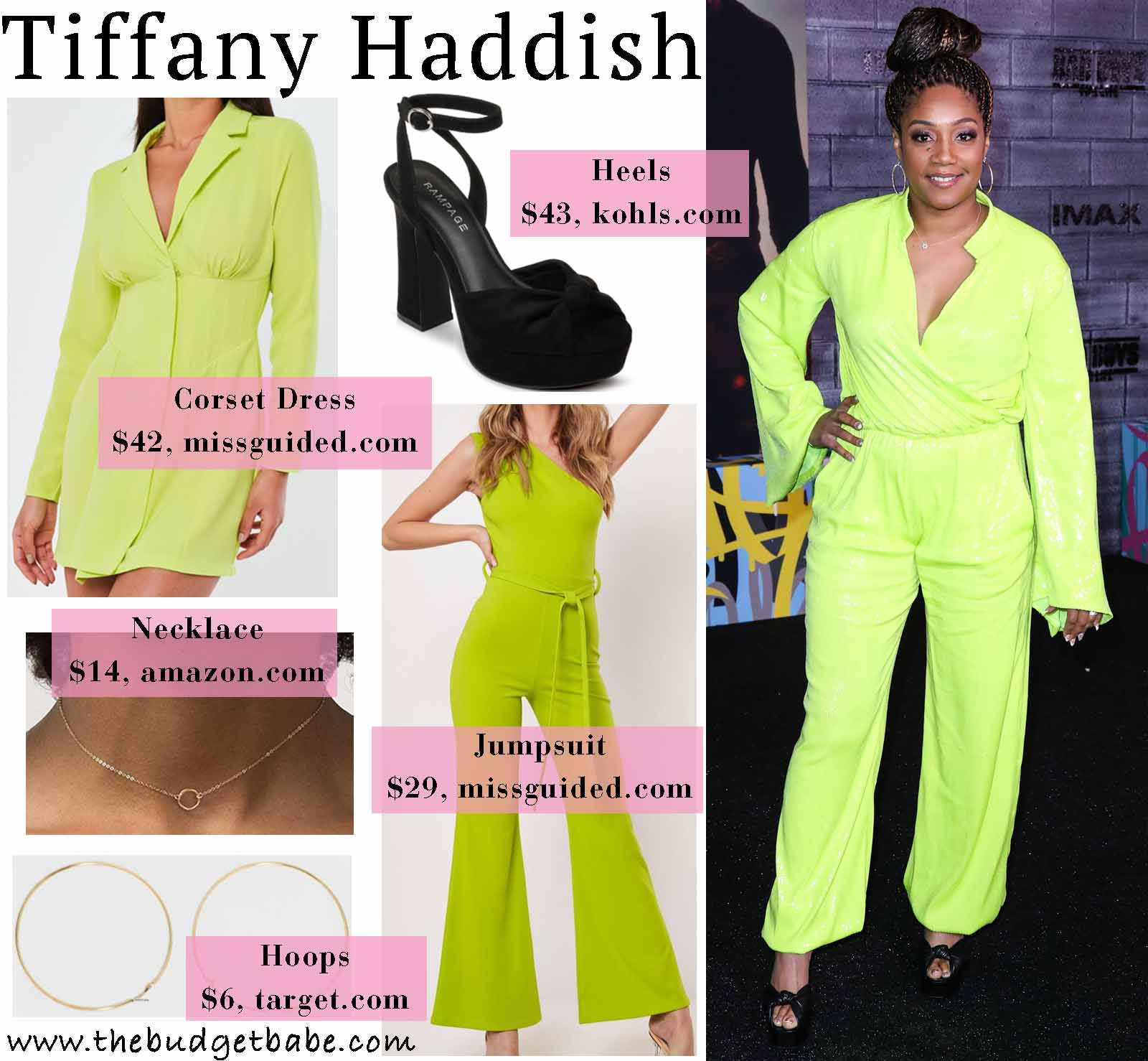 Tiffany Haddish glows in a neon jumpsuit!