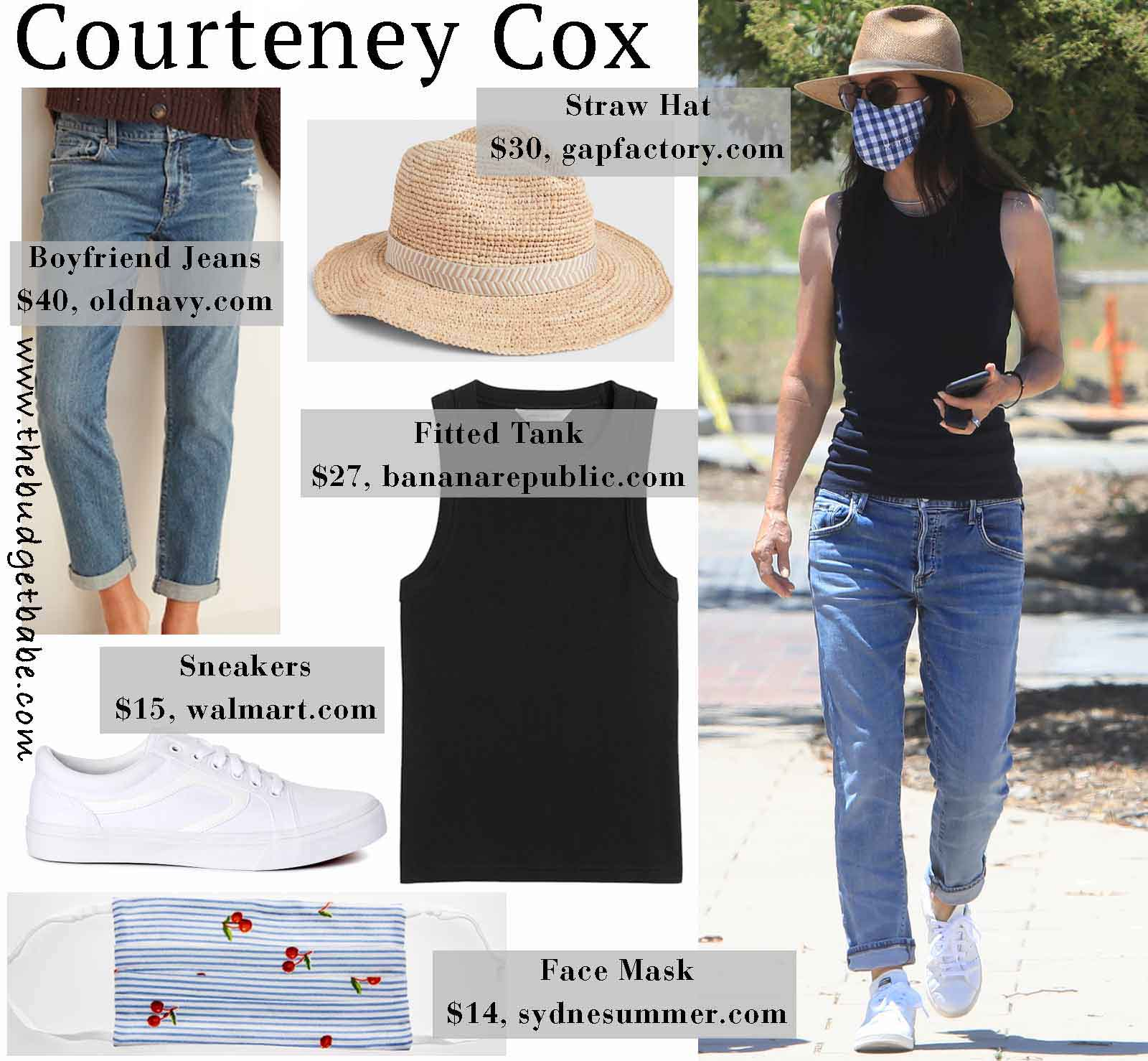 Courteney Cox hits the farmer's market in a straw hat and gingham face mask.