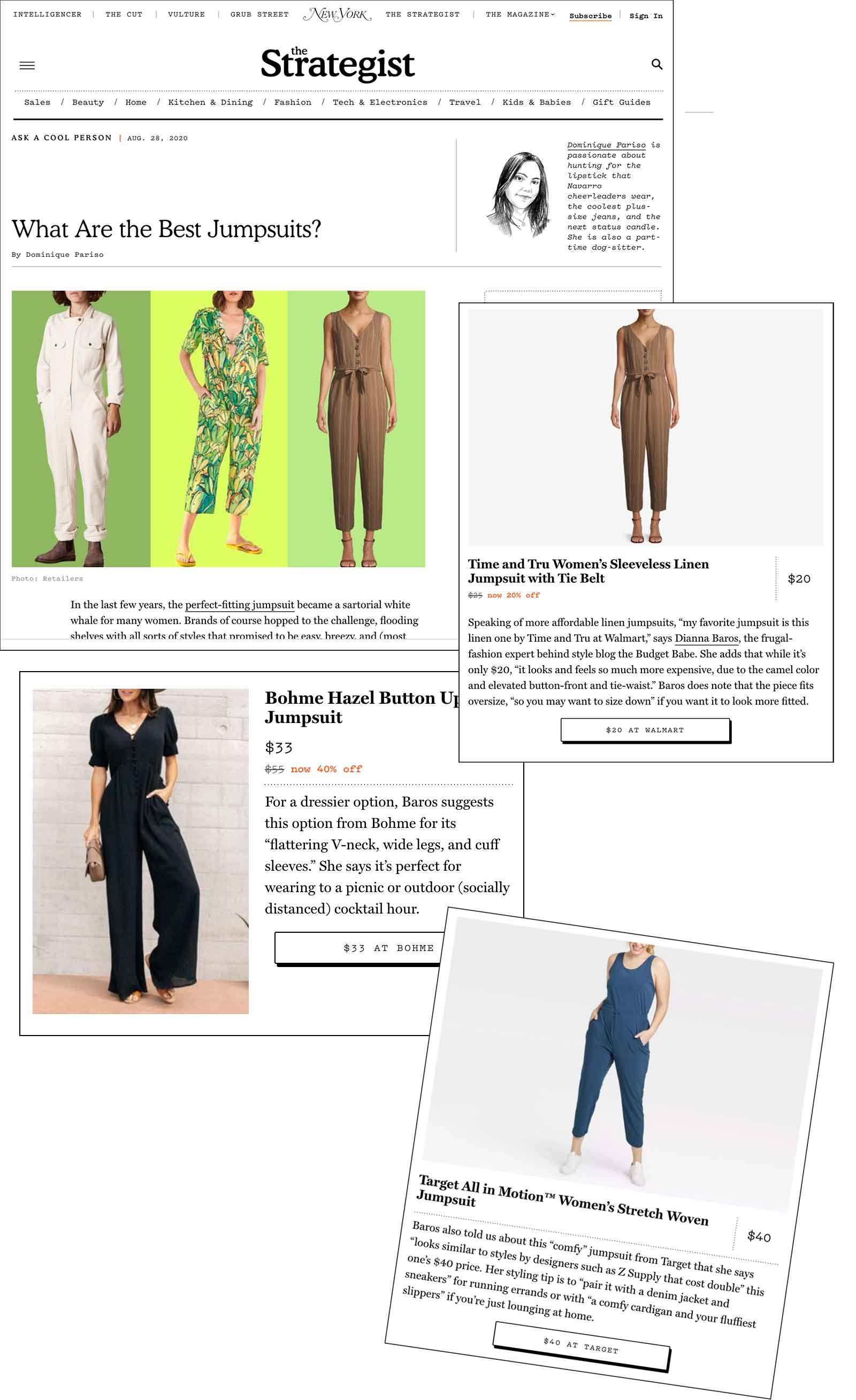 The Budget Babe, Dianna Baros, talks about the best jumpsuits on a budget with The Strategist by New York Magazine.