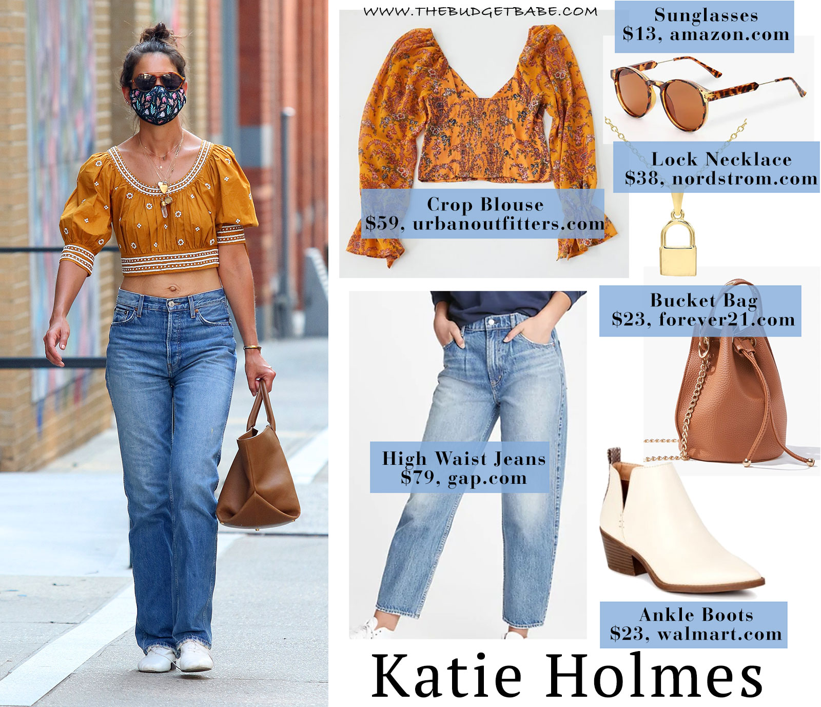 Katie Holmes boho top and high waist jeans