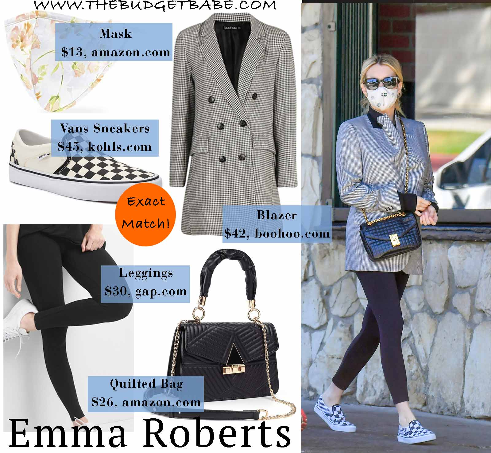 Emma Roberts mixes upscale and affordable pieces.