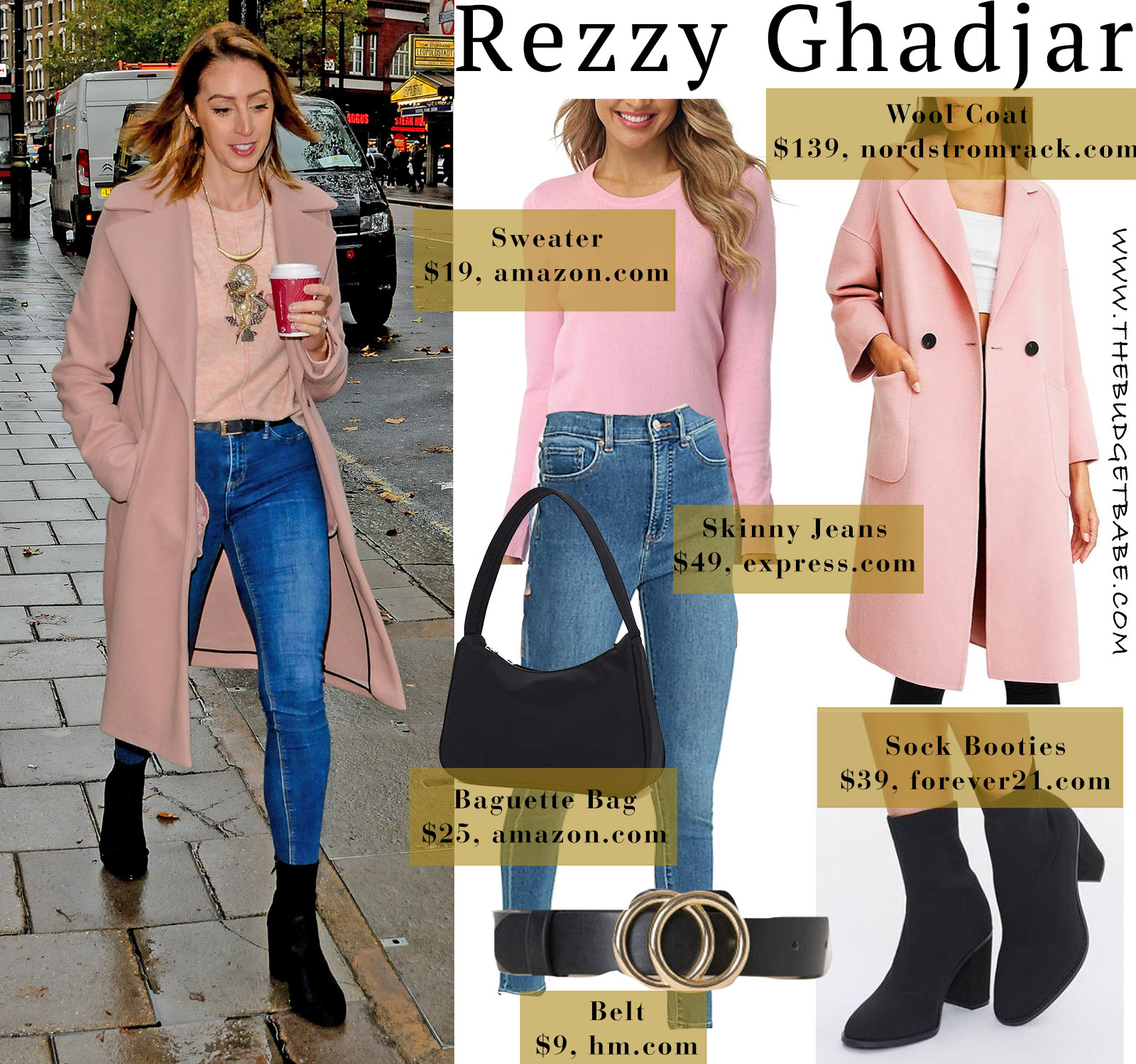 Rezzy Ghadjar pink coat and sweater with black accents look for less London style