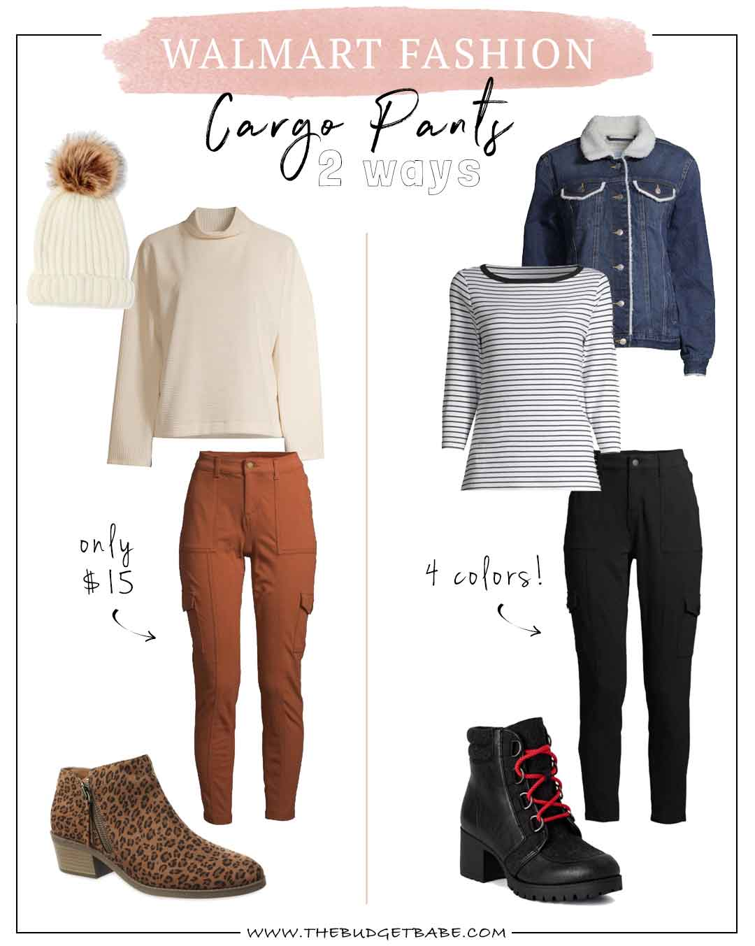 Walmart Fashion Blogger styles $15 cargo pants two ways