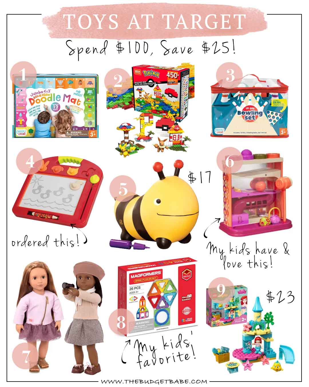 Target toy sale, spend $100 get $25 off!