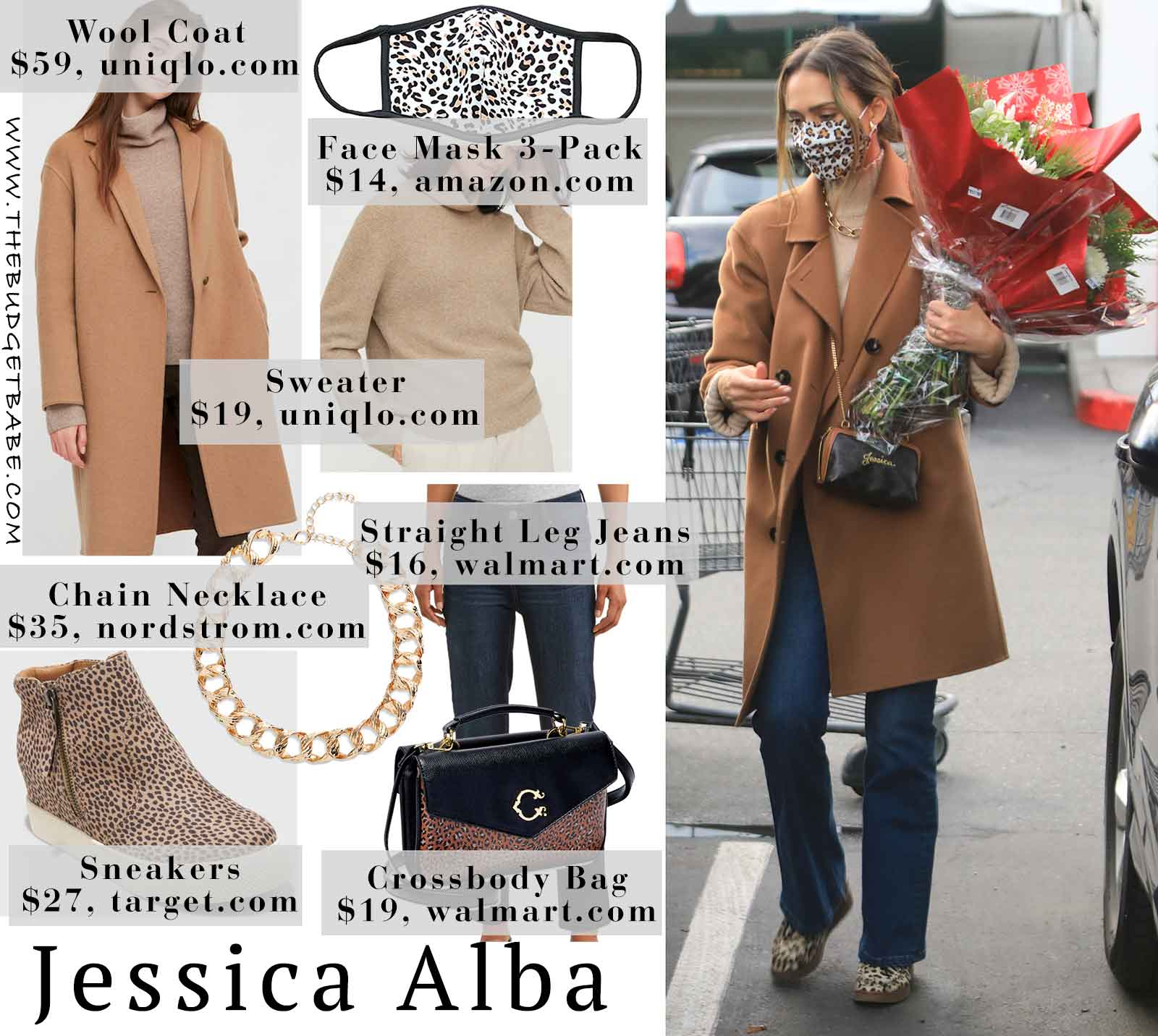 Jessica Alba's leopard face mask, camel coat and straight leg jeans look for less