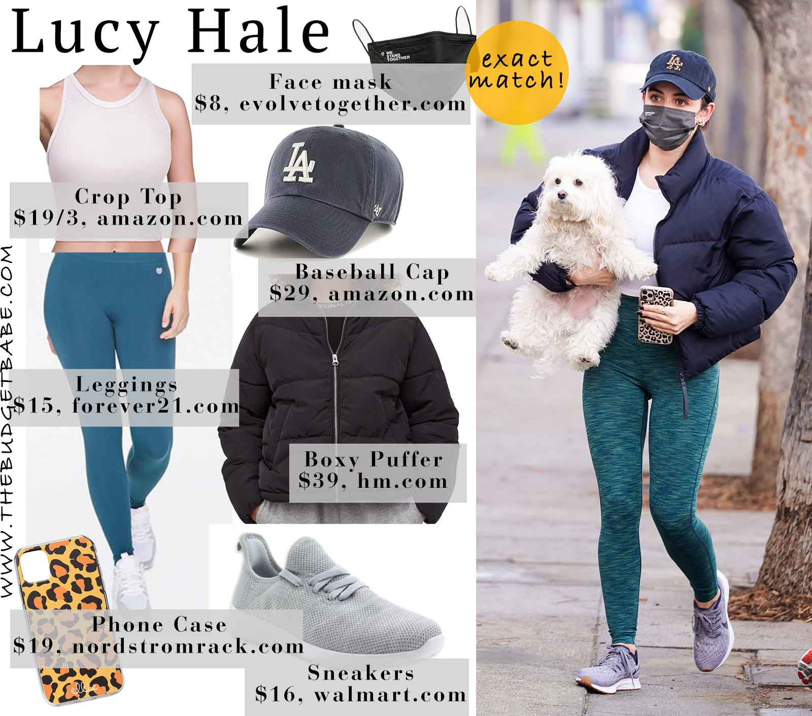 Lucy Hale's teal leggings and puffer coat look for less
