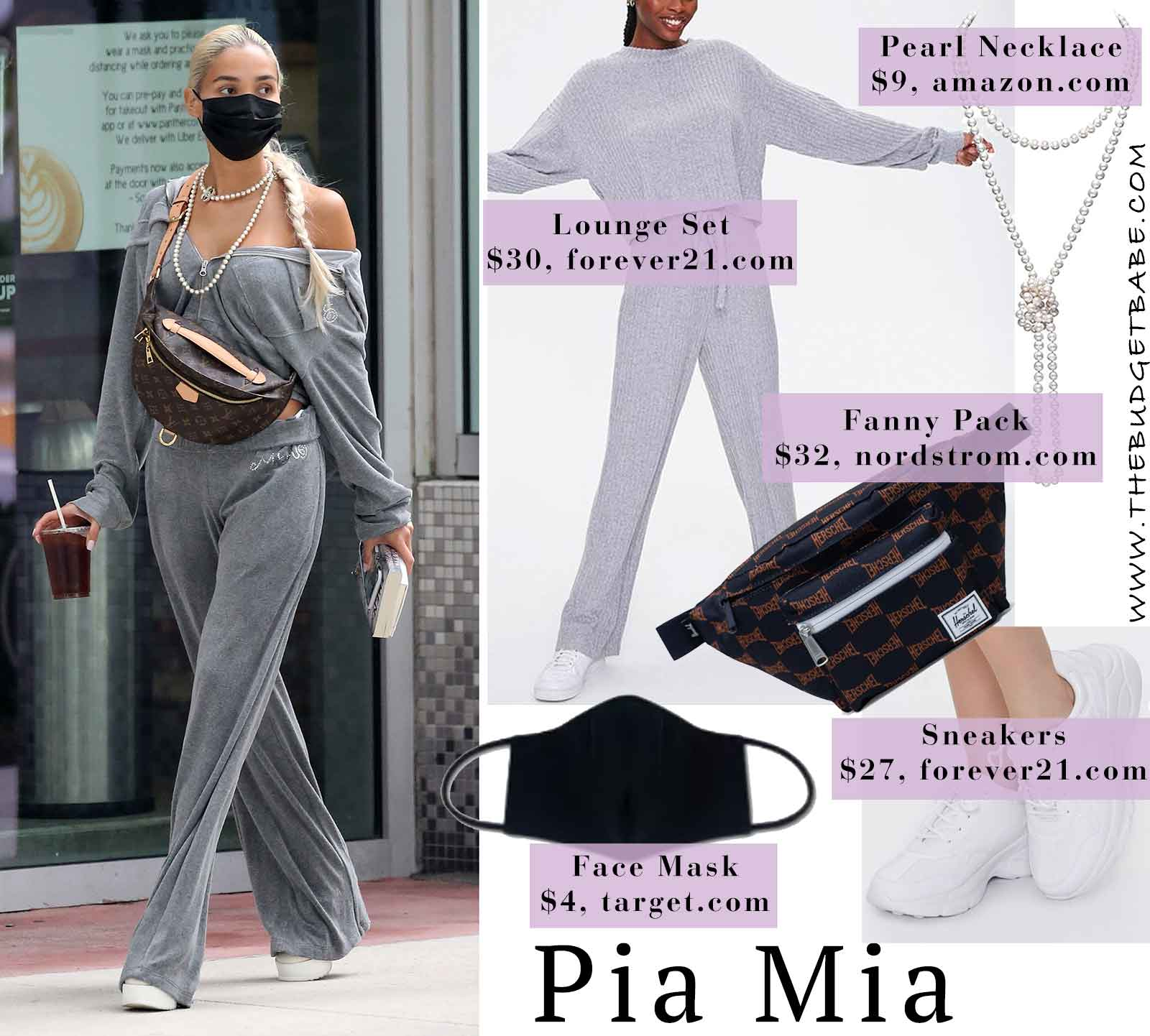 Pia Mia loungewear set and platform sneakers