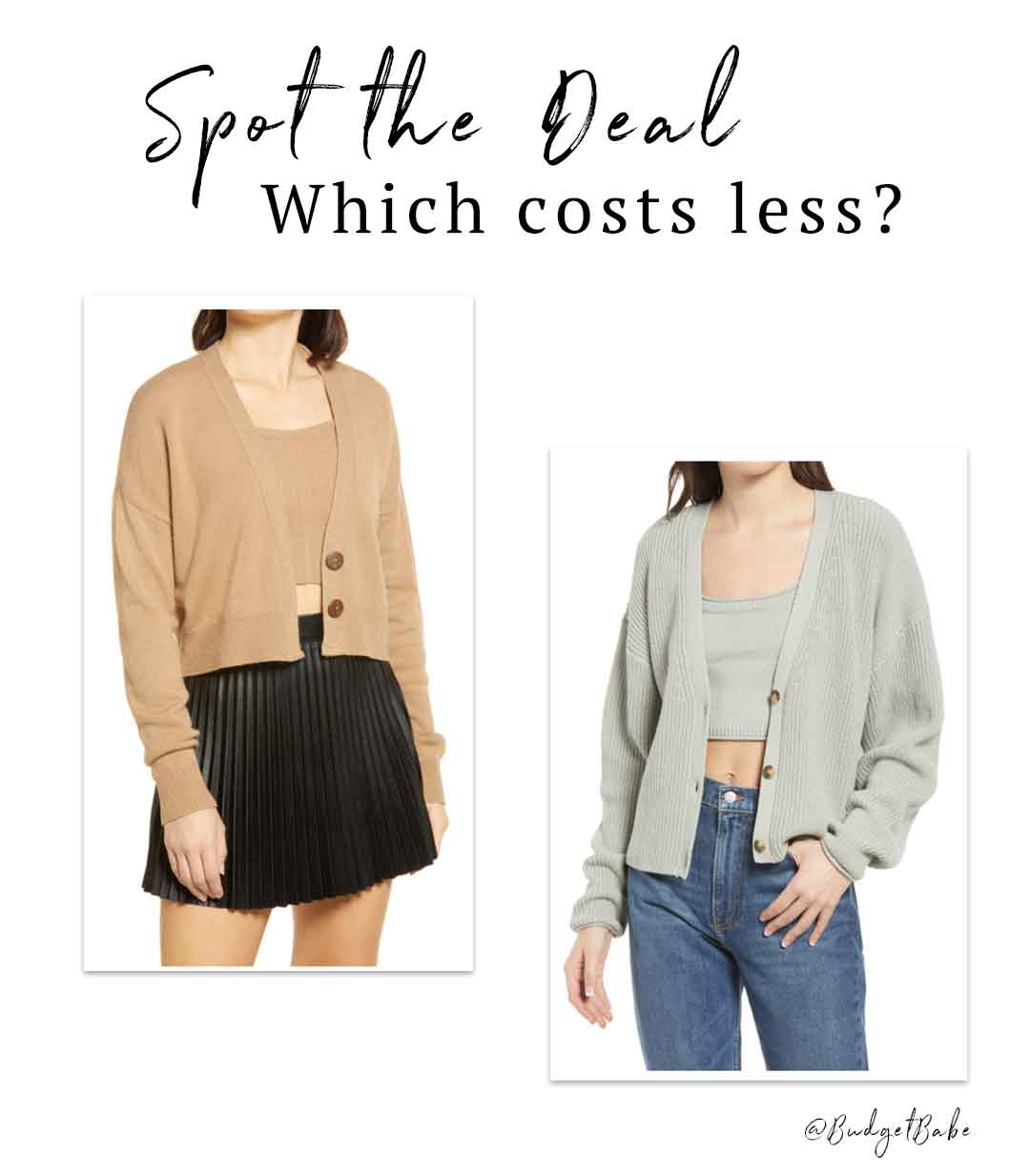 Can you guess which sweater set costs less?