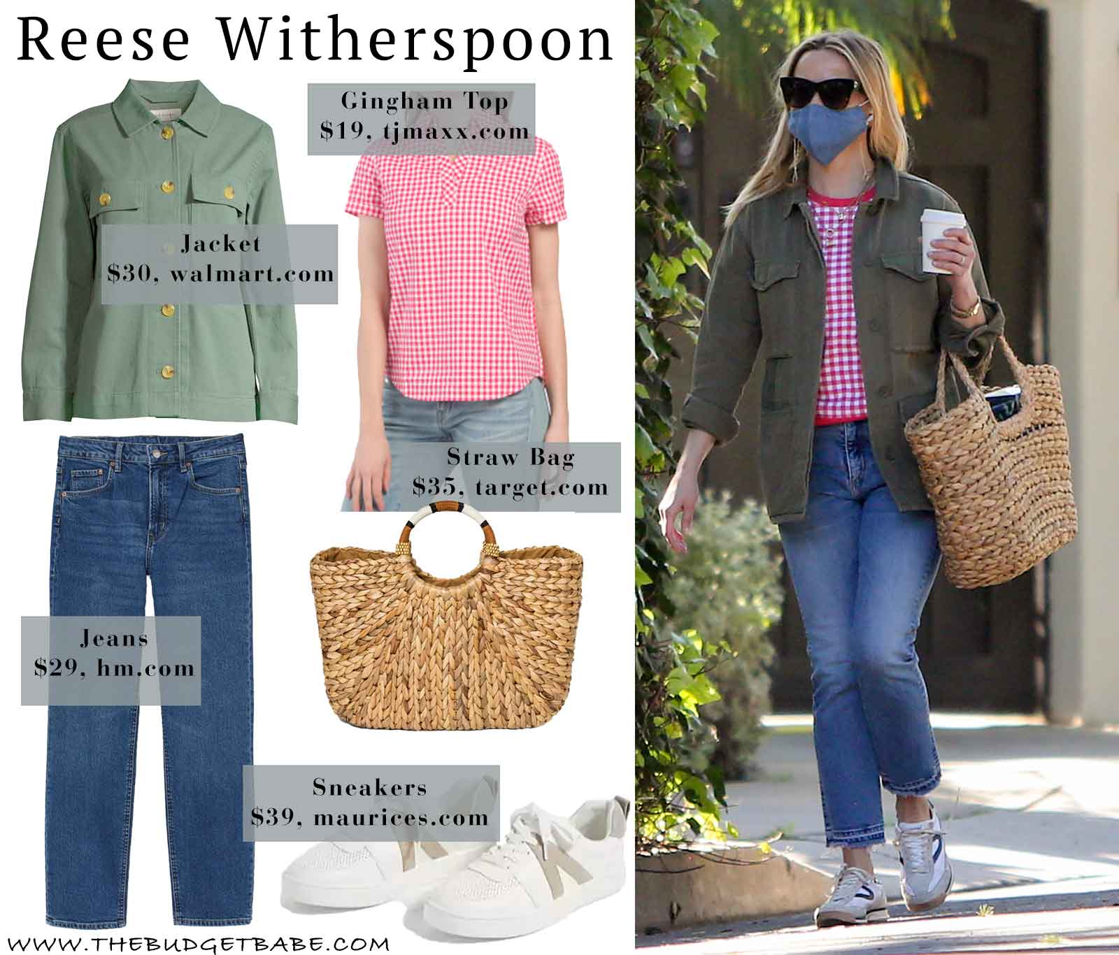 Reese Witherspoon gingham shirt and cargo jacket look for less