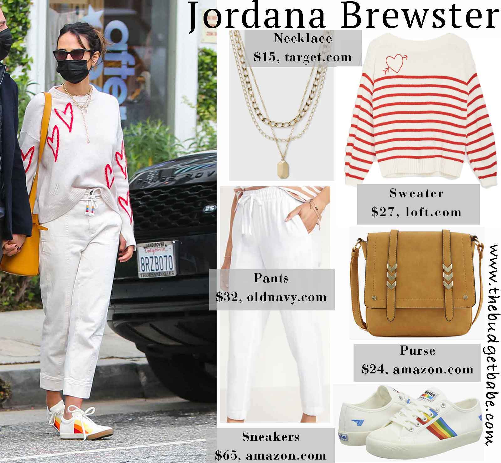 The Look for Less: Jordana Brewster's Heart Print Sweater and Cropped Pants