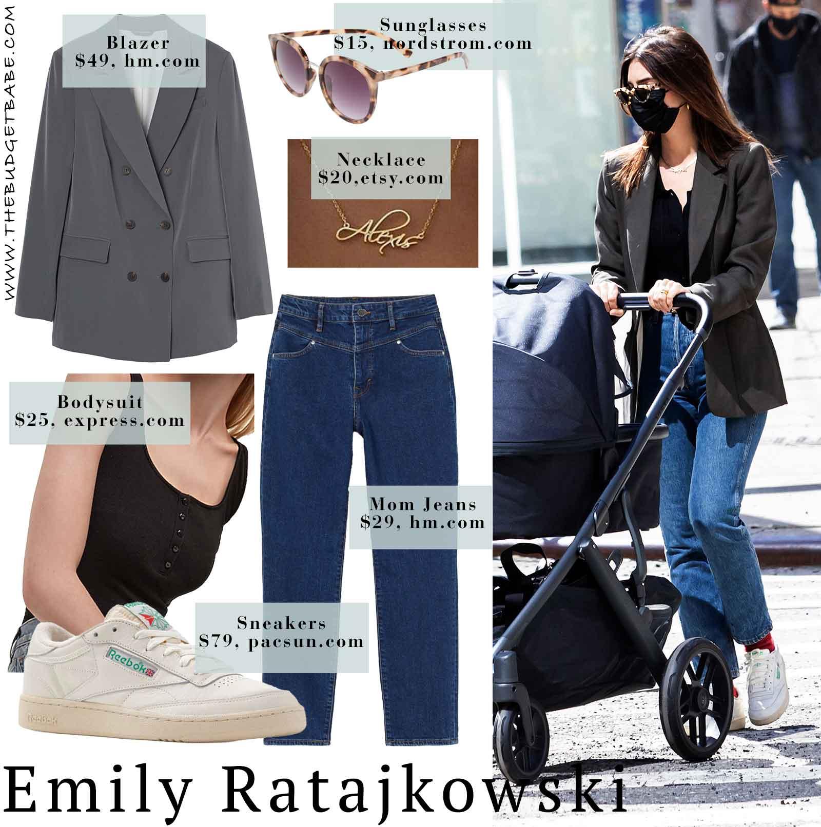Emily Ratajkowski's boyfriend blazer, mom jeans, and Reebok sneakers look for less