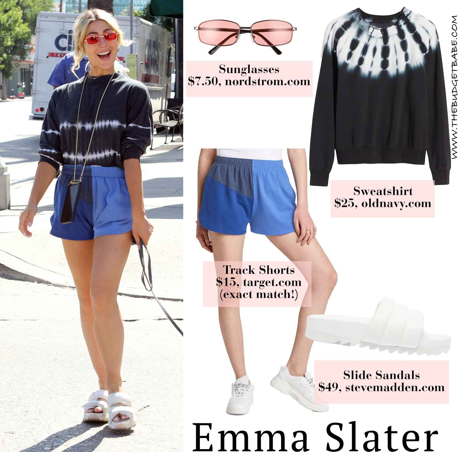 Emma Slater looks cute in Target shorts and a tie dye top while walking her pup!