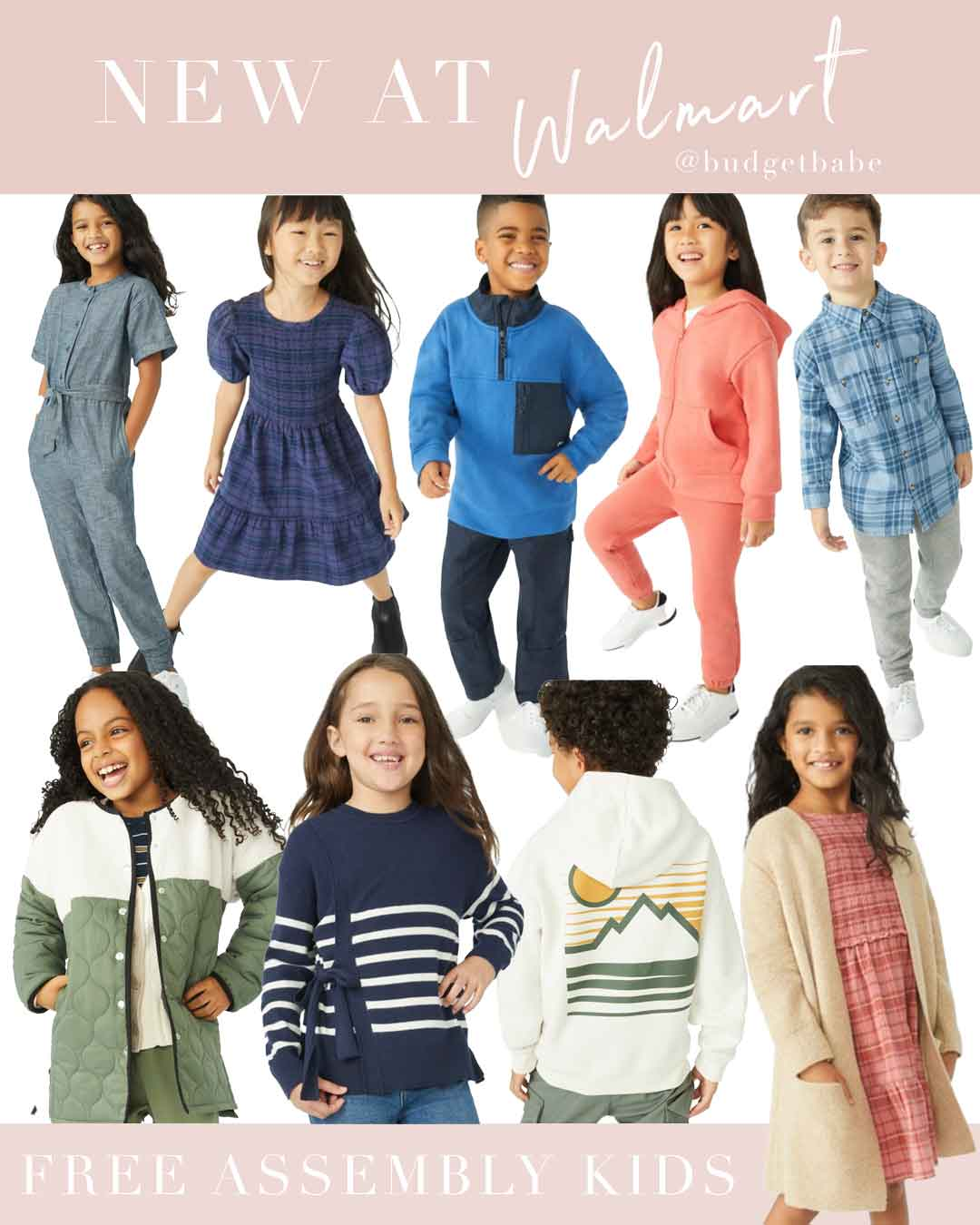 New kids clothing fashion line at Walmart, Free Assembly. Affordable and classic outfits for boys and girls
