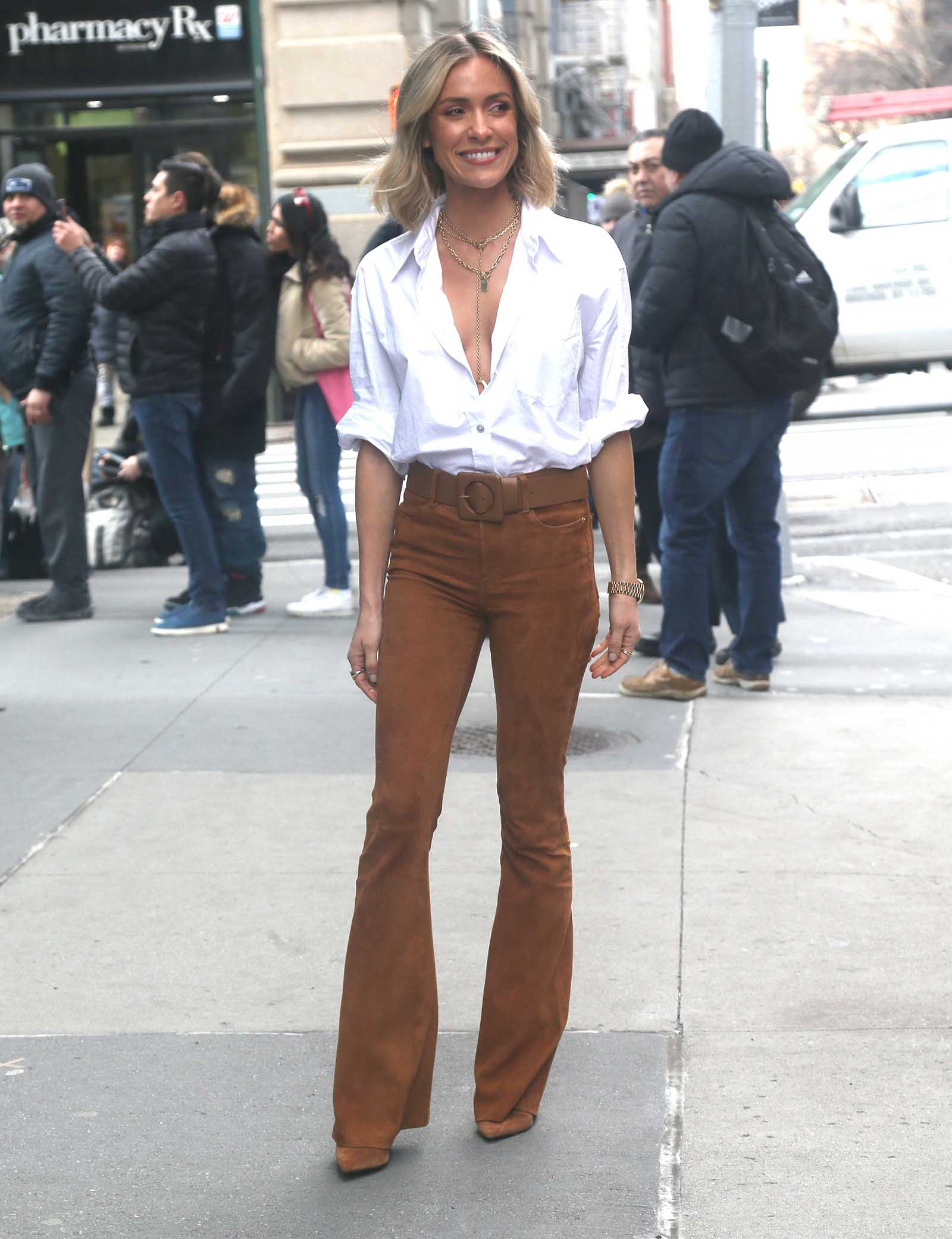 Kristin Cavallari is 70's chic in suede bell pants!
