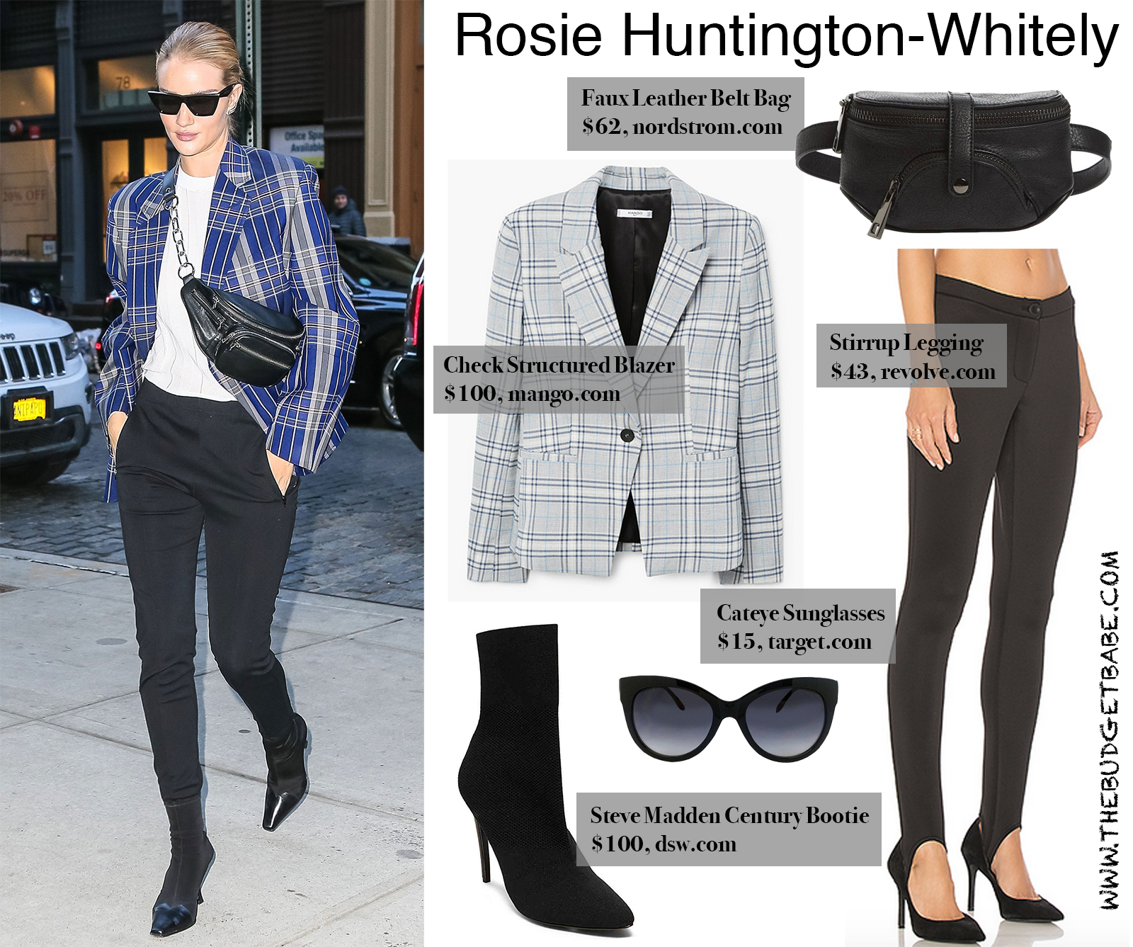 Rosie Huntington-Whitely Check Blazer and Belt Bag Look for Less