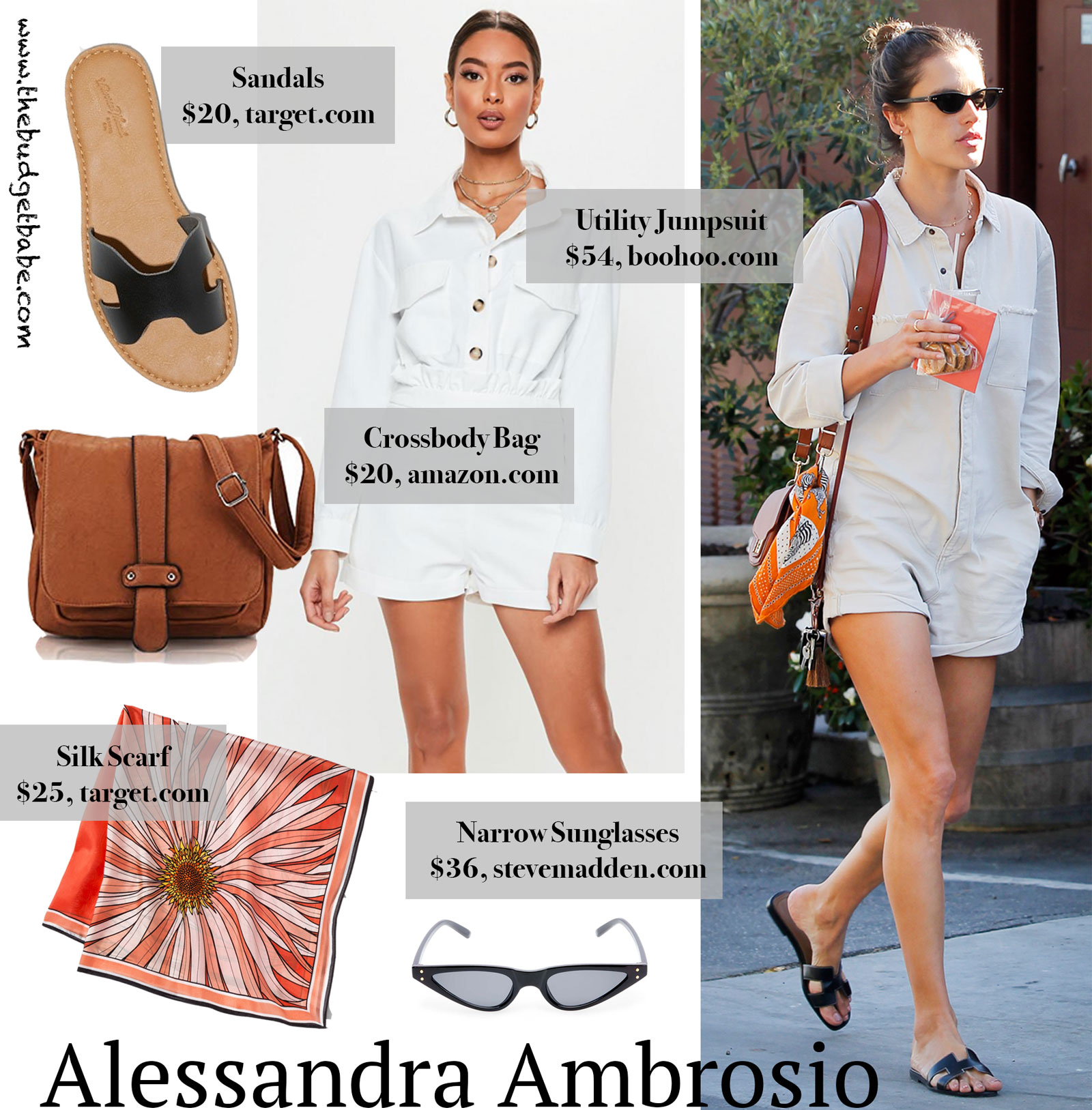 2efa29e7cf0 Alessandra Ambrosio s ONETEASPOON Jumpsuit and Hermes Sandals.