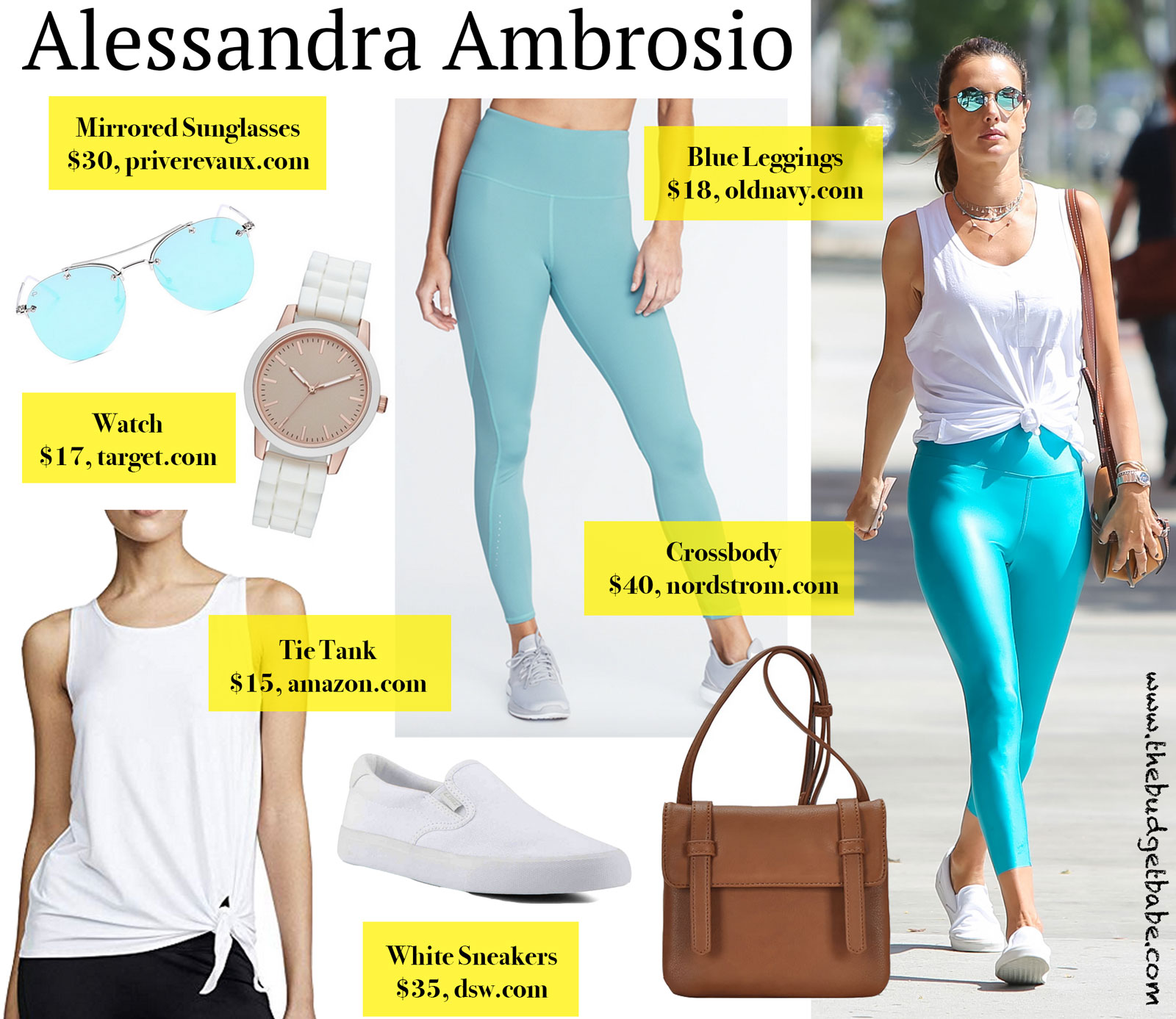 Alessandra Ambrosio Blue Leggings Look for Less