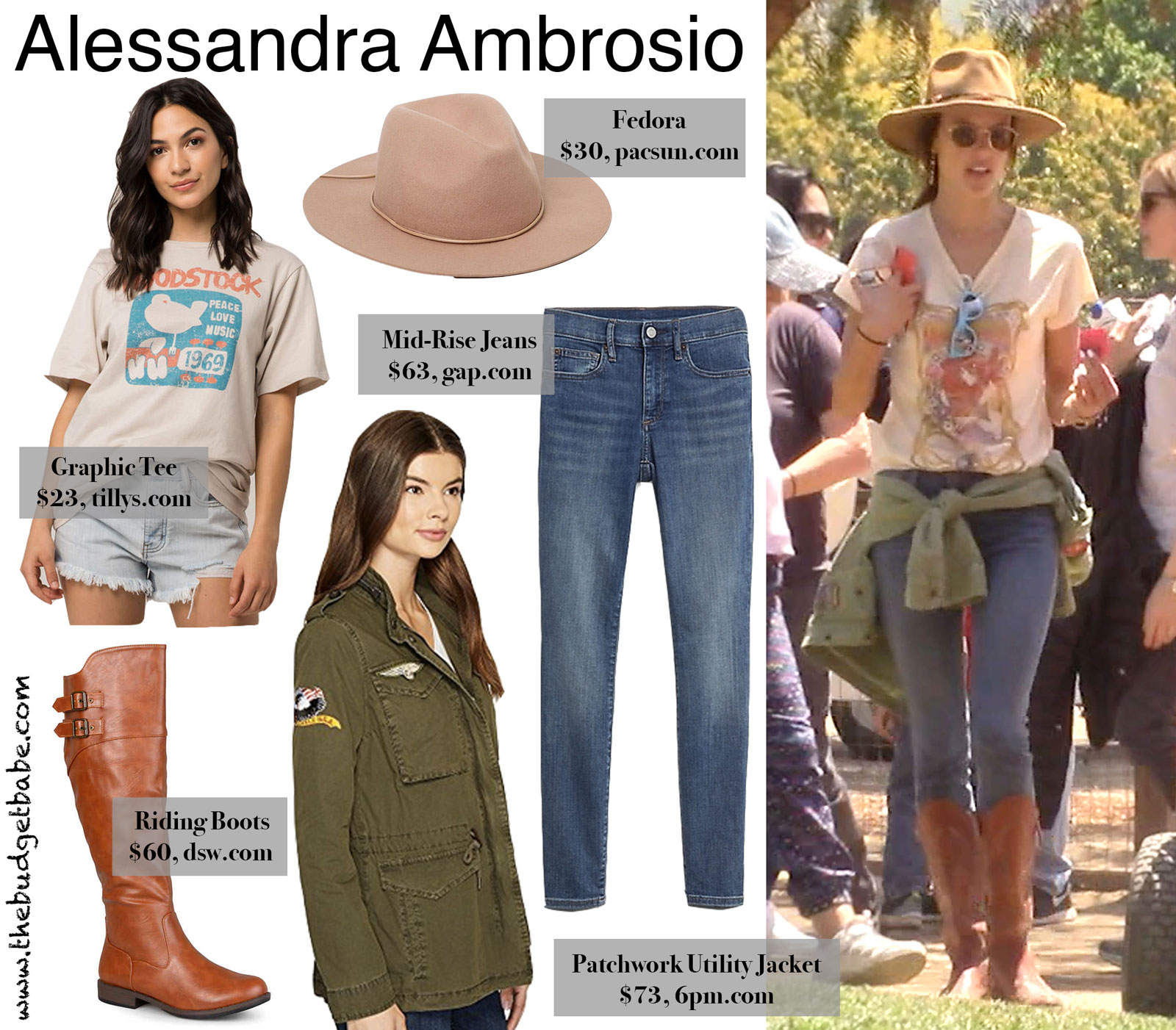 Alessandra Ambrosio Graphic Tee and Fedora Look for Less