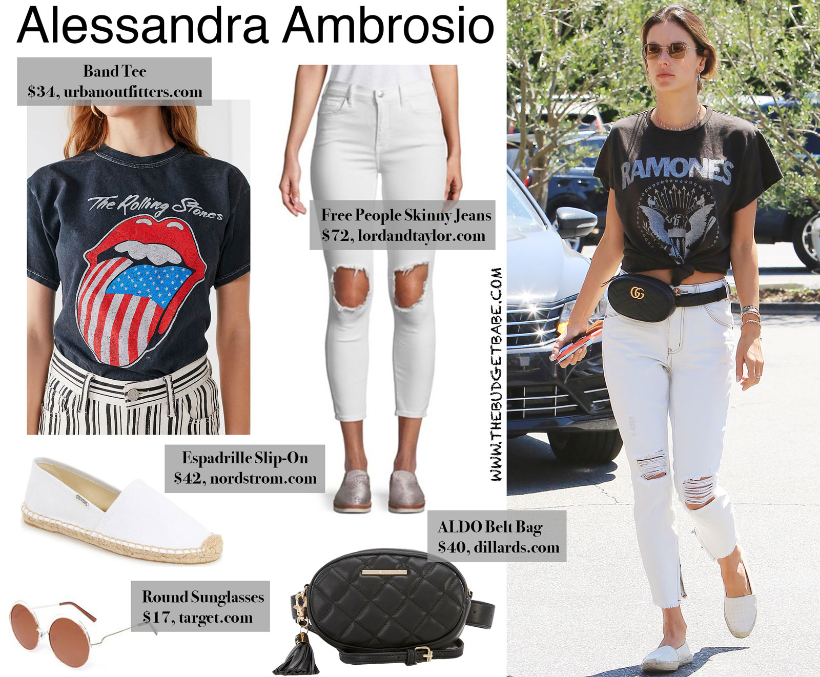 25854b92485679 Alessandra Ambrosio's Gucci Belt Bag and Band Tee Look for Less ...