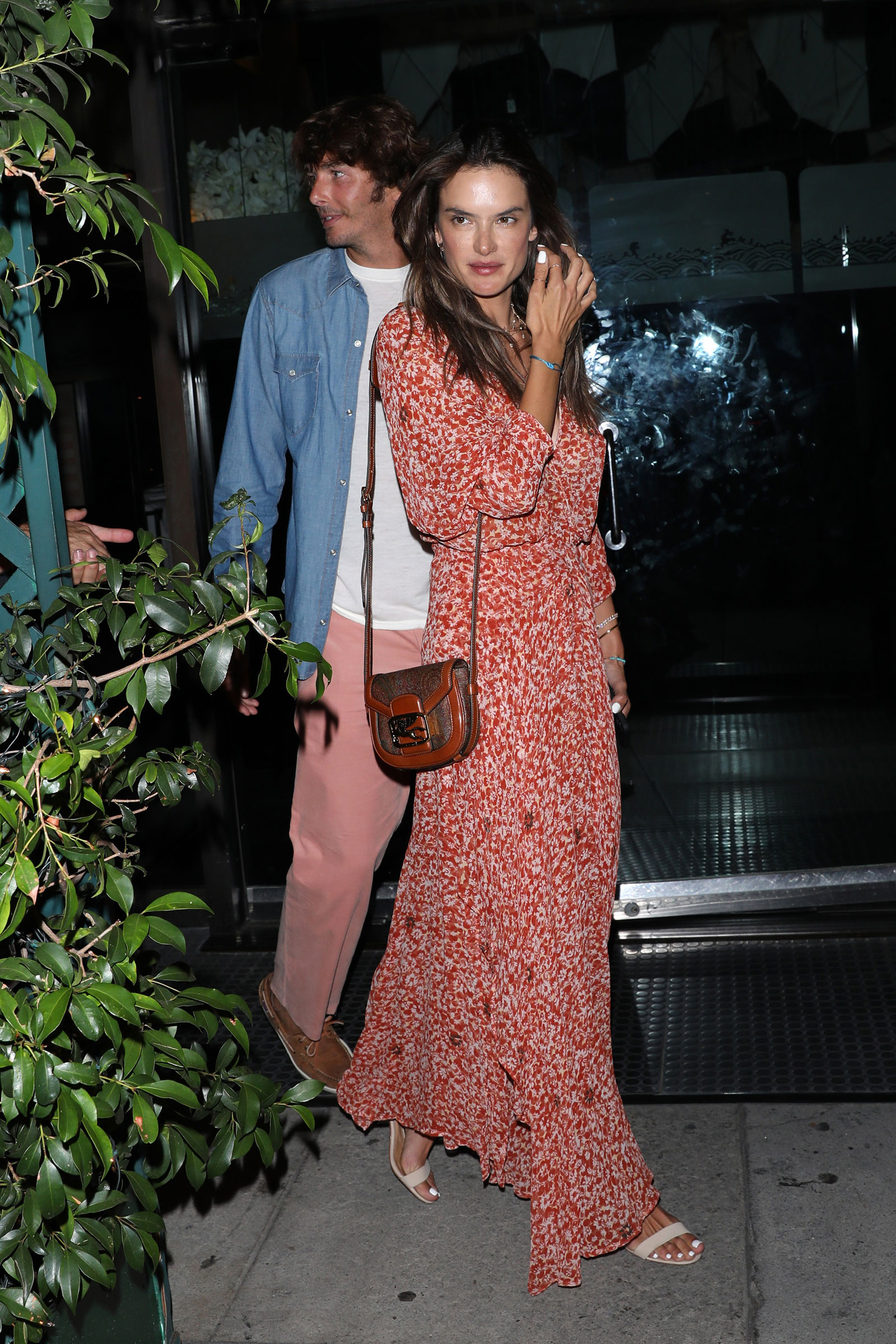 Alessandra Ambrosio Red Floral Dress
