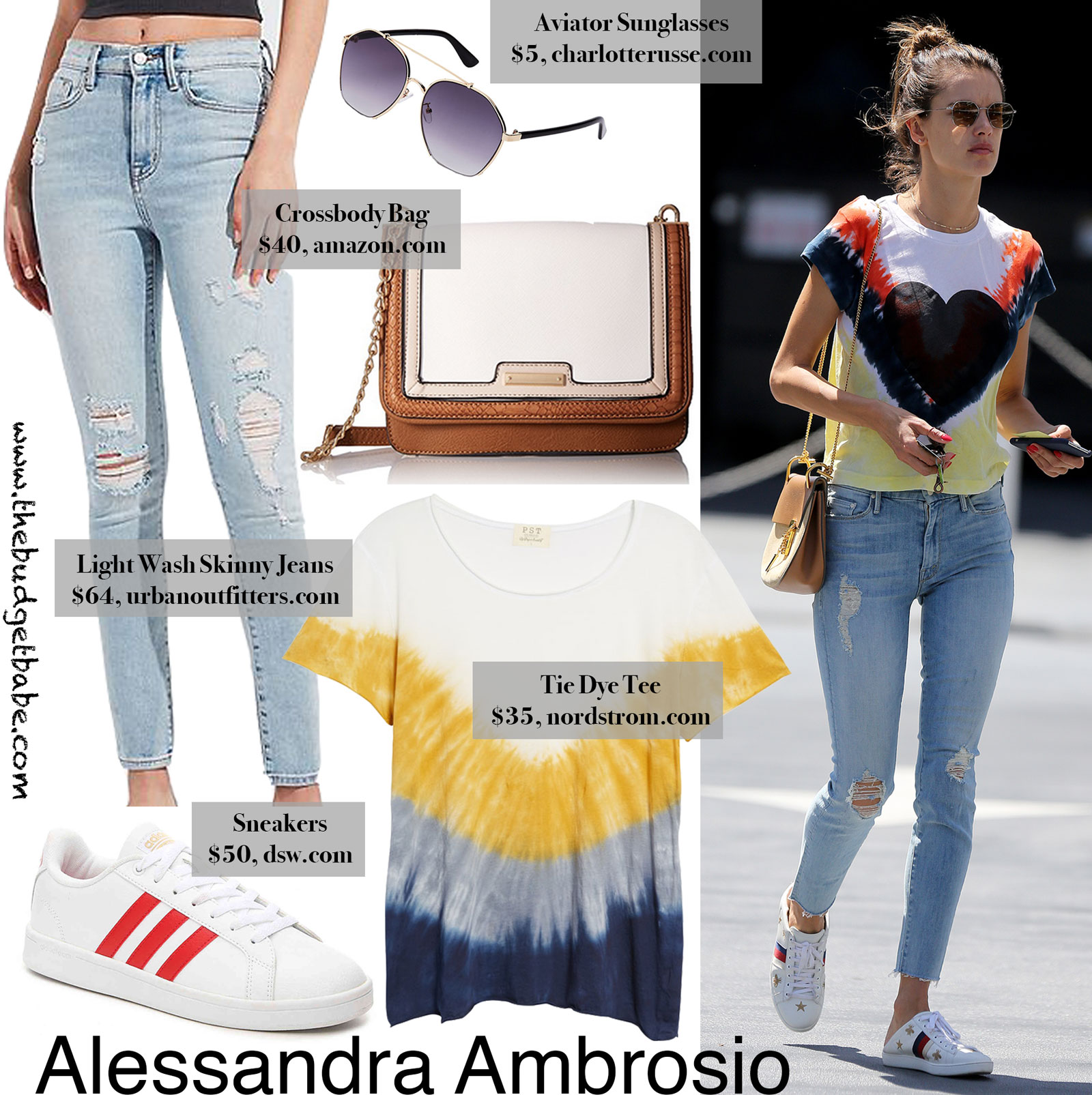 Alessandra Ambrosio Tie Dye Tee Look for Less