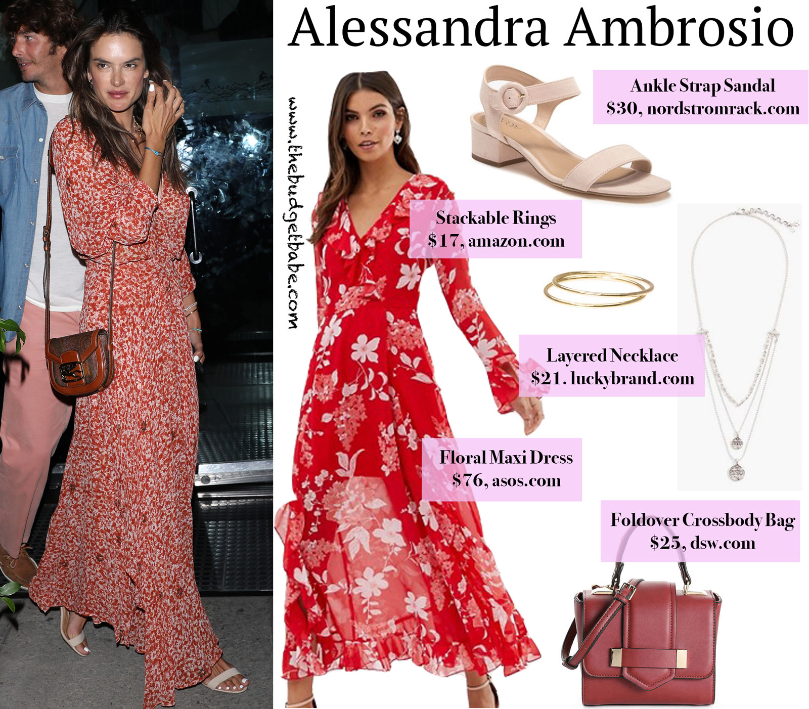 Alessandra Ambrosio Red Floral Dress Look for Less