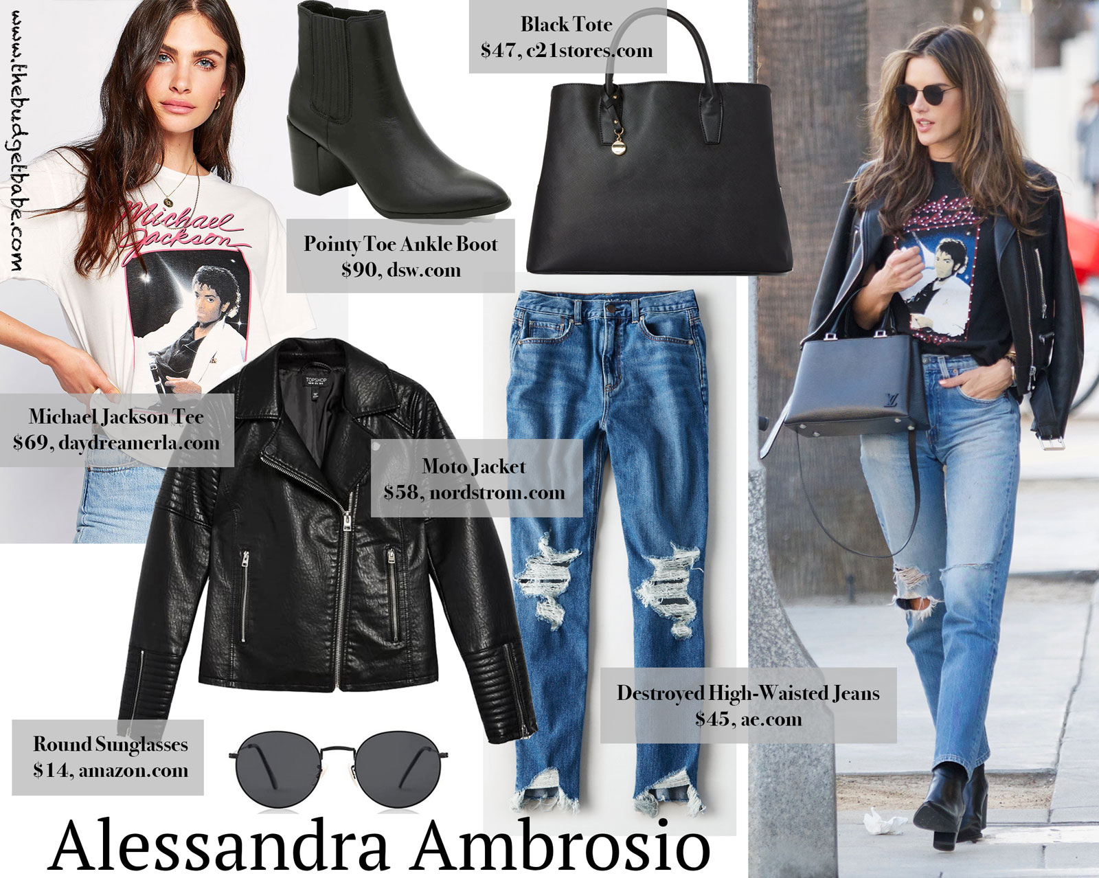 Alessandra Ambrosio Michael Jackson Tee Look for Less