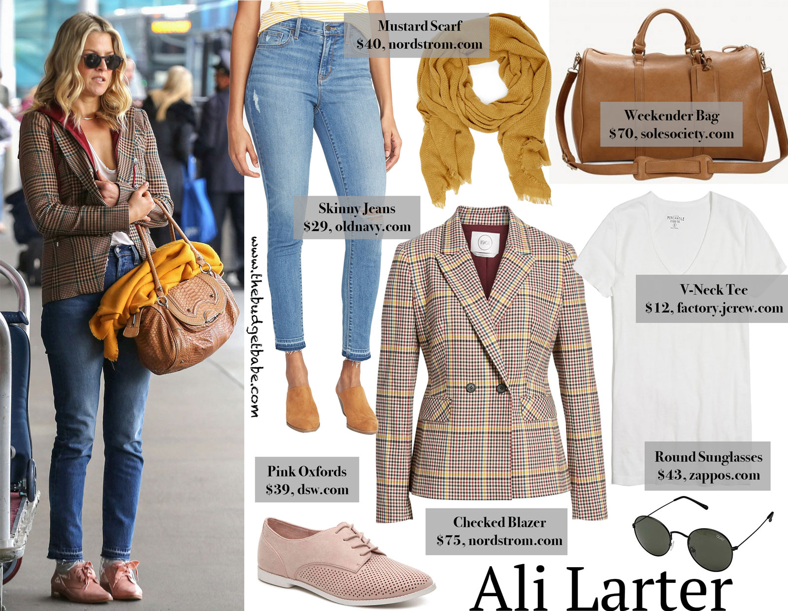 Ali Larter Checked Blazer and Oxford Shoes Look for Less