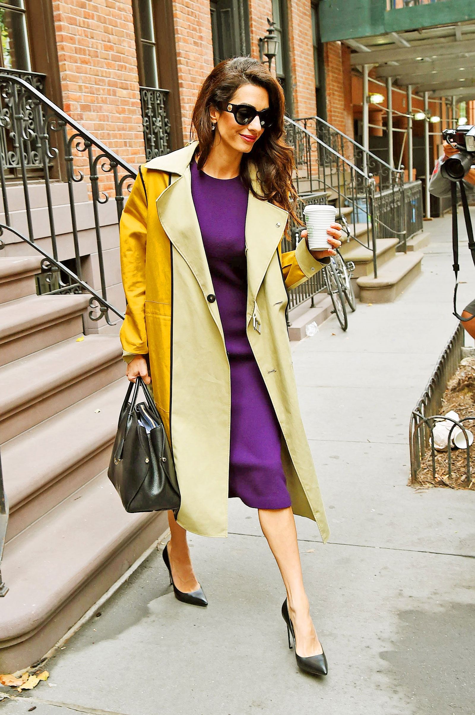 Amal Clooney Purple Dress Trench Coat
