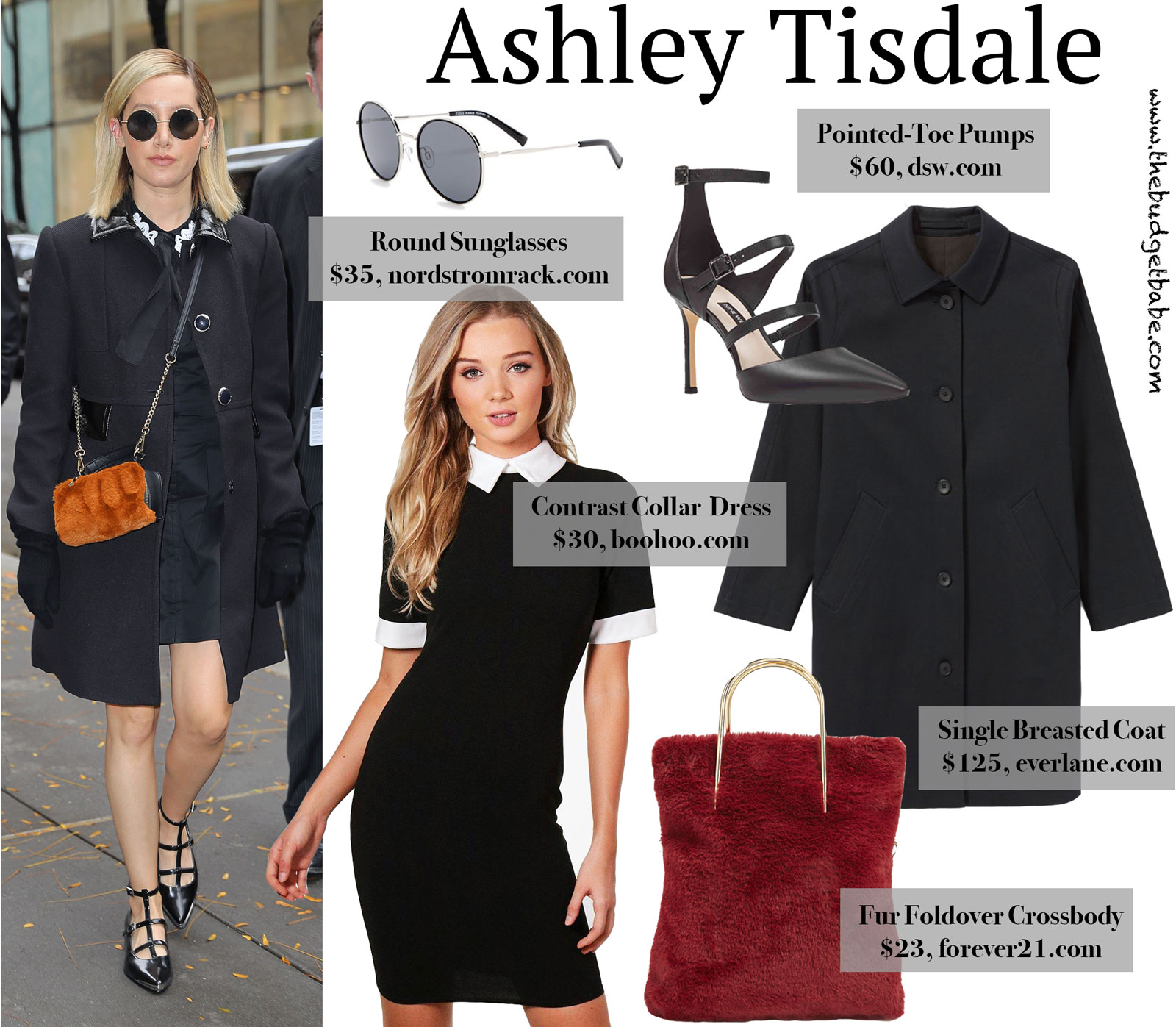 Ashley Tisdale Black Coat and Caged Heels Look for Less