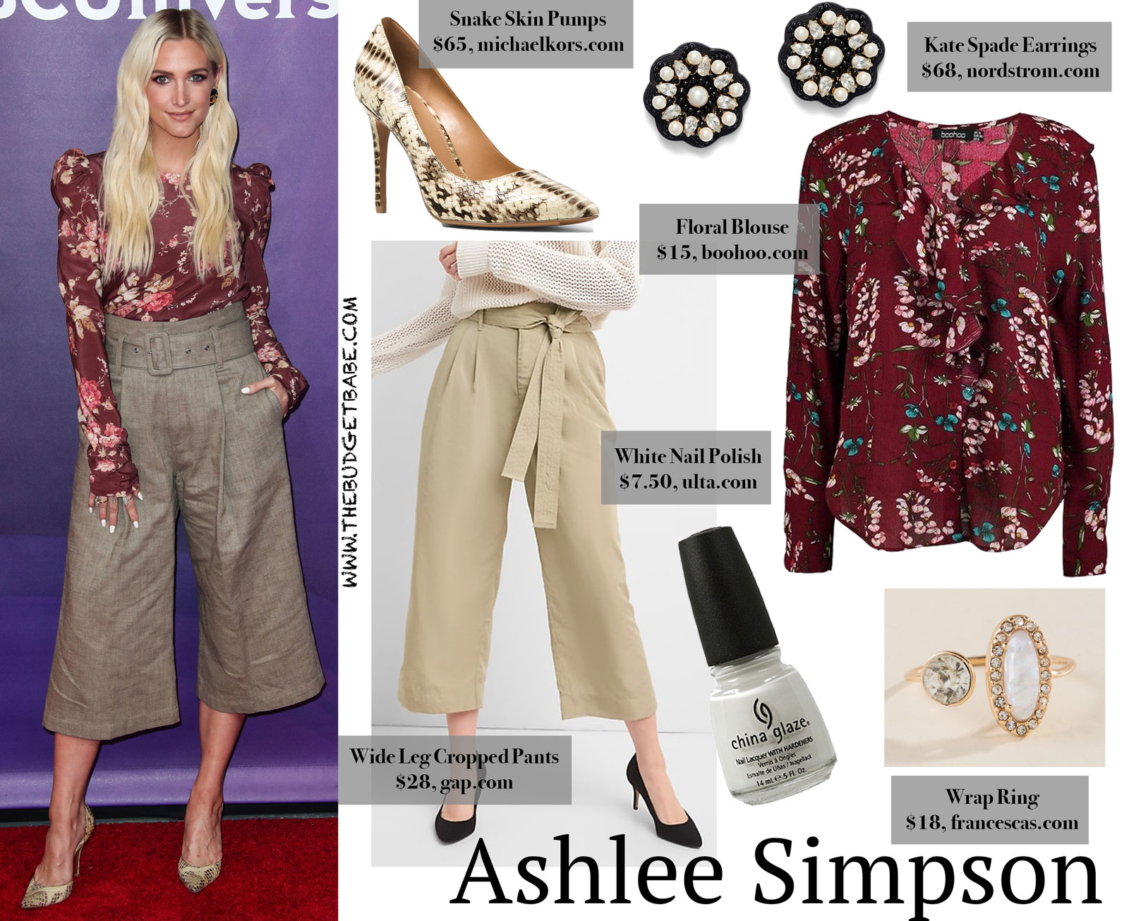 2a4258375fb Get the Look for Less  Ashlee Simpson s Red Floral Blouse and.