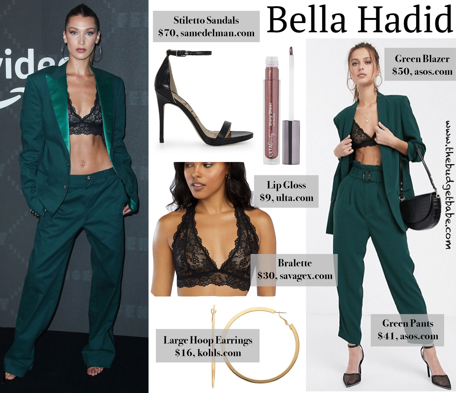 Bella Hadid Green Suit Fenty Bra Look for Less