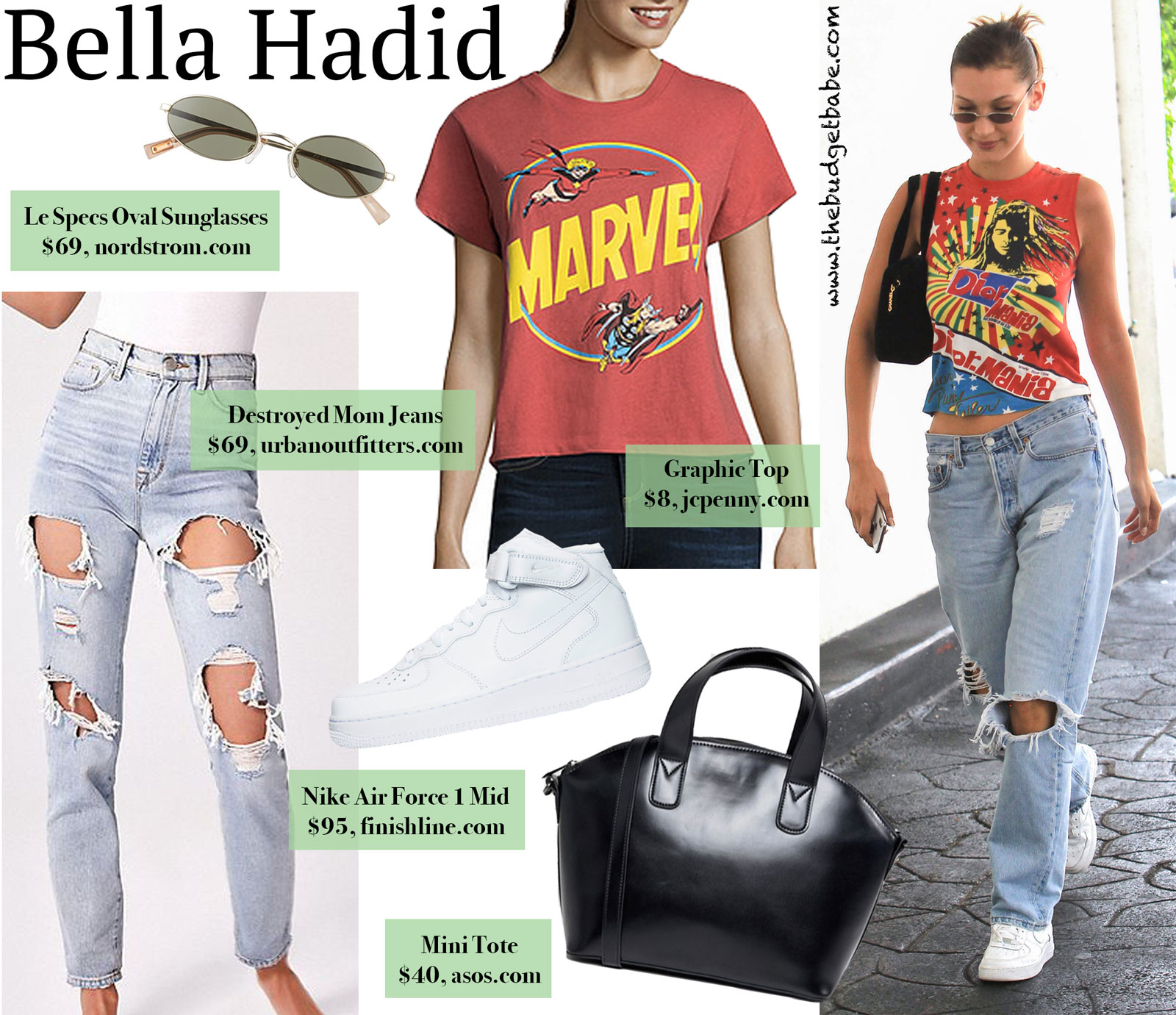 Bella Hadid Graphic Tee Destroyed Denim Look for Less