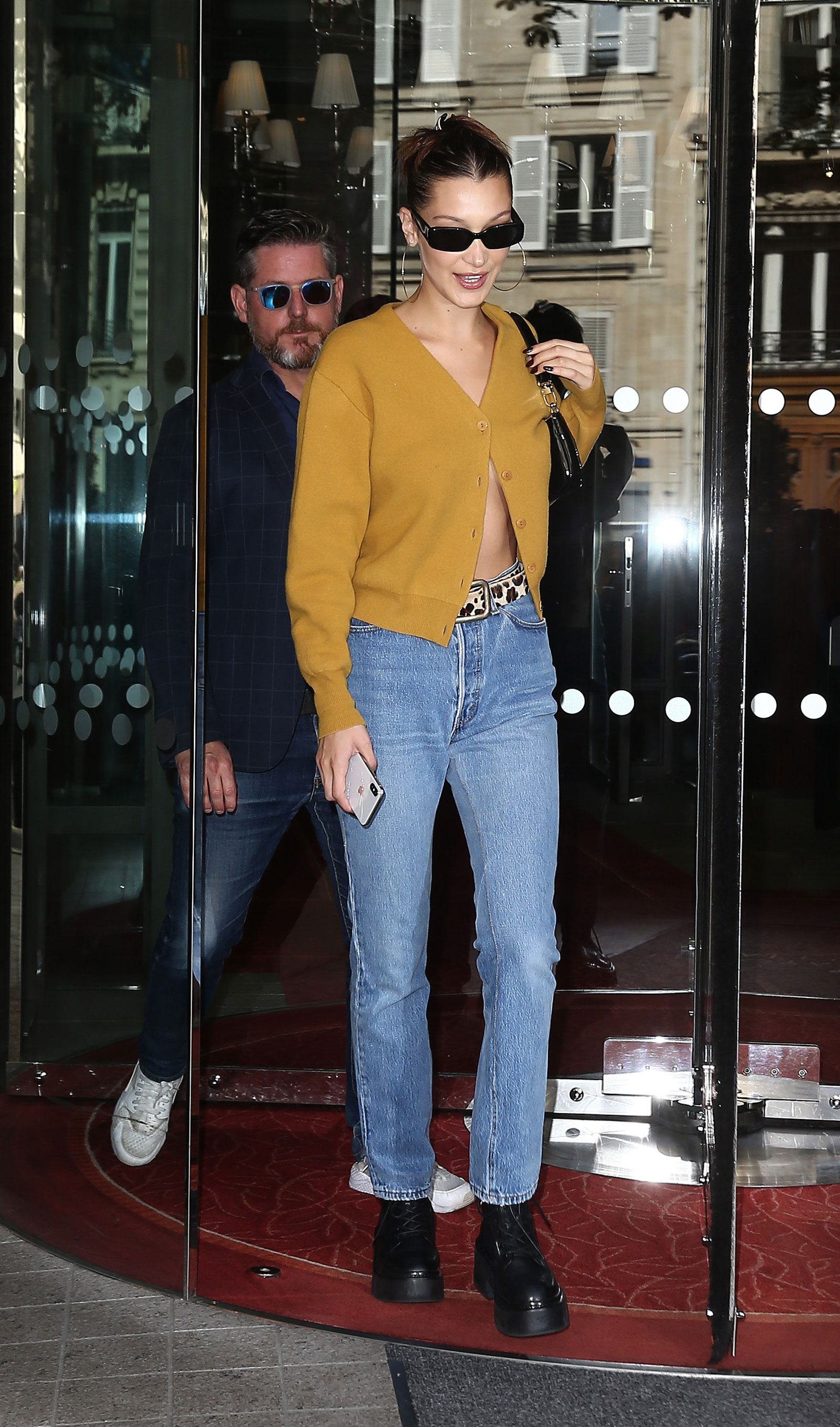 Bella Hadid Mustard Cardigan and Leopard Belt