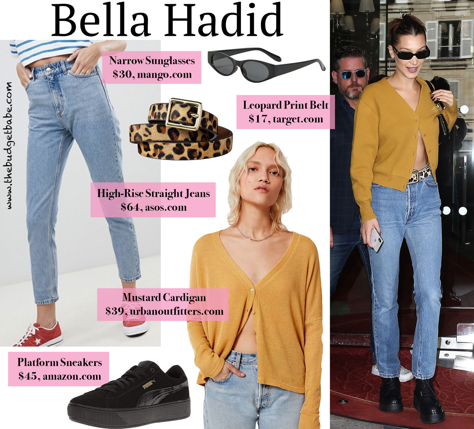 Bella Hadid Mustard Cardigan and Leopard Belt Look for Less