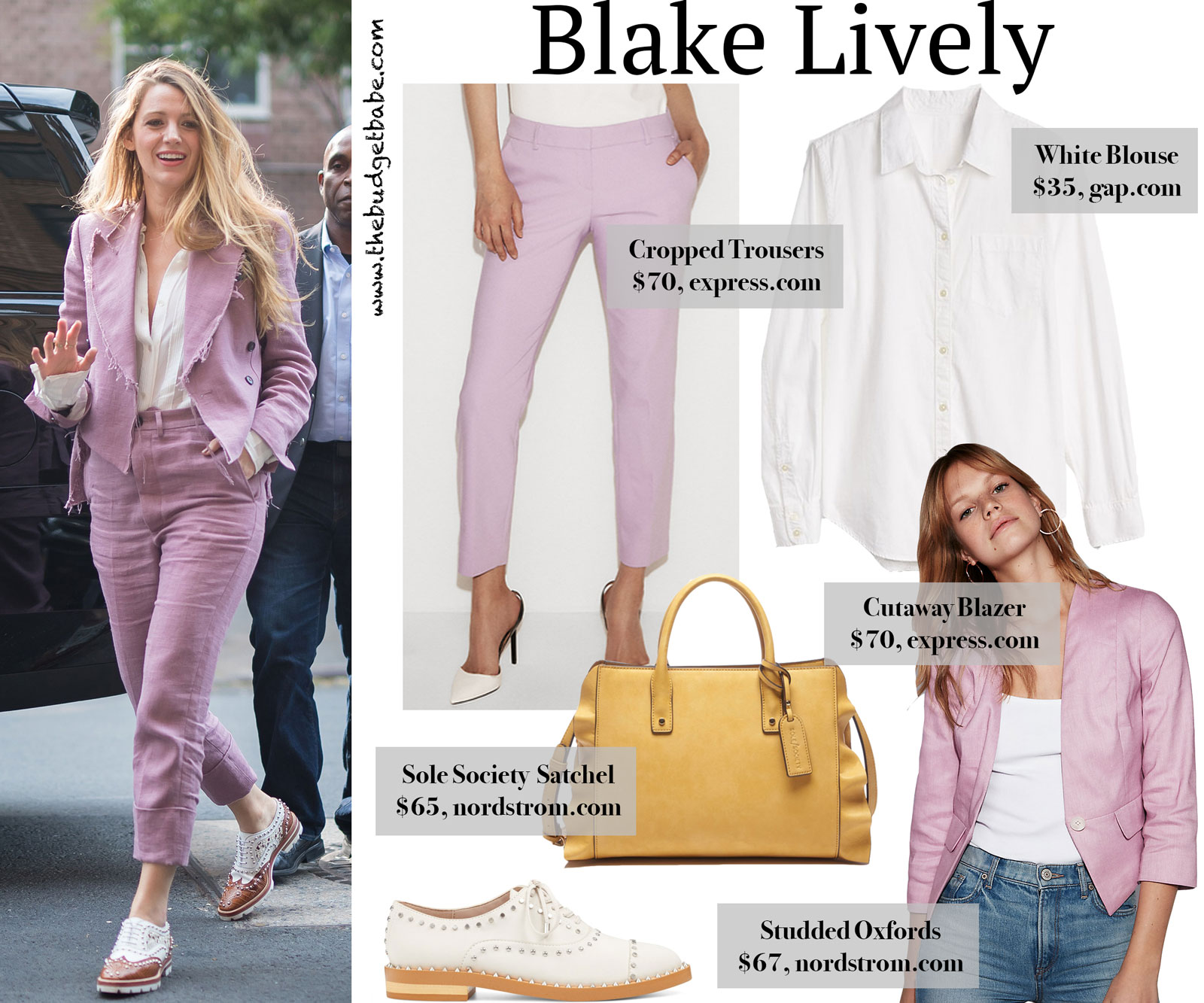 Blake Lively Mauve Jacket and Trousers Look for Less