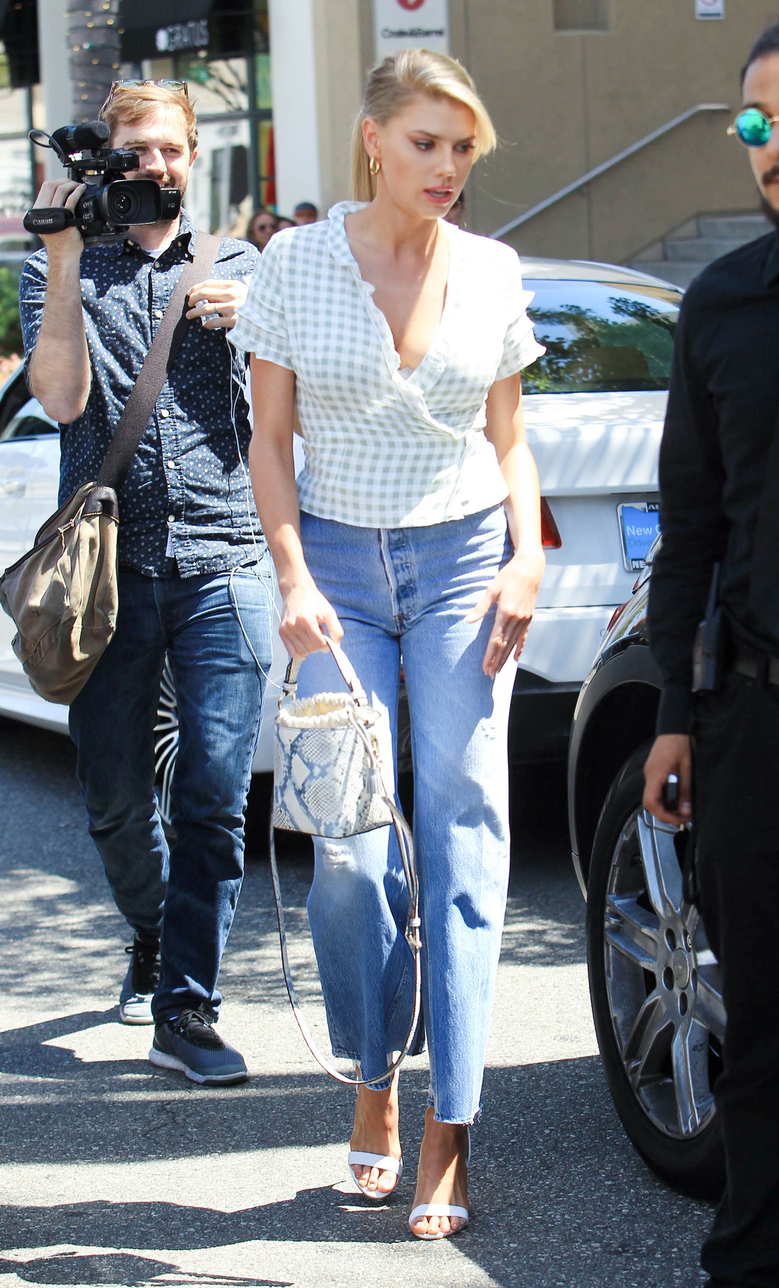Charlotte McKinney Check Crop Top and Flare Jeans