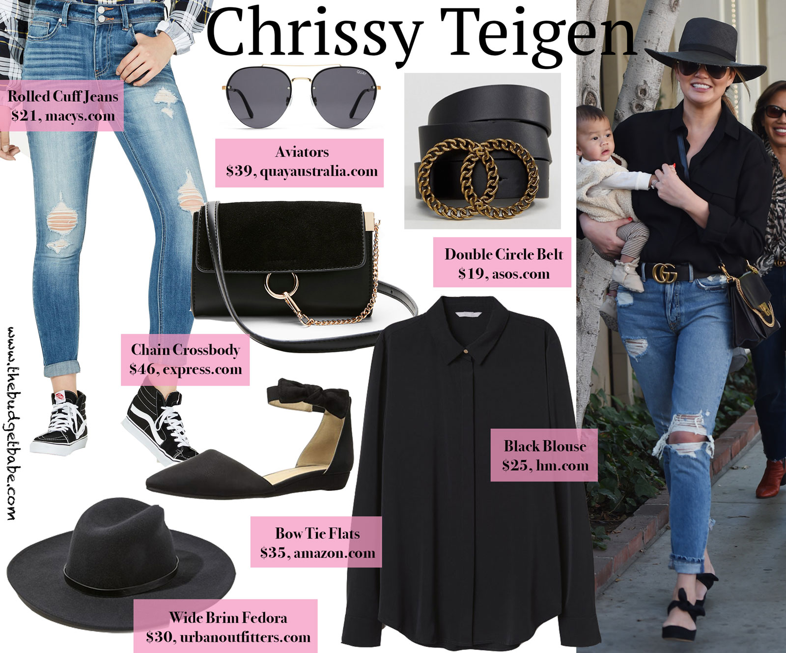 Chrissy Teigen Black Blouse Gucci Belt Look for Less