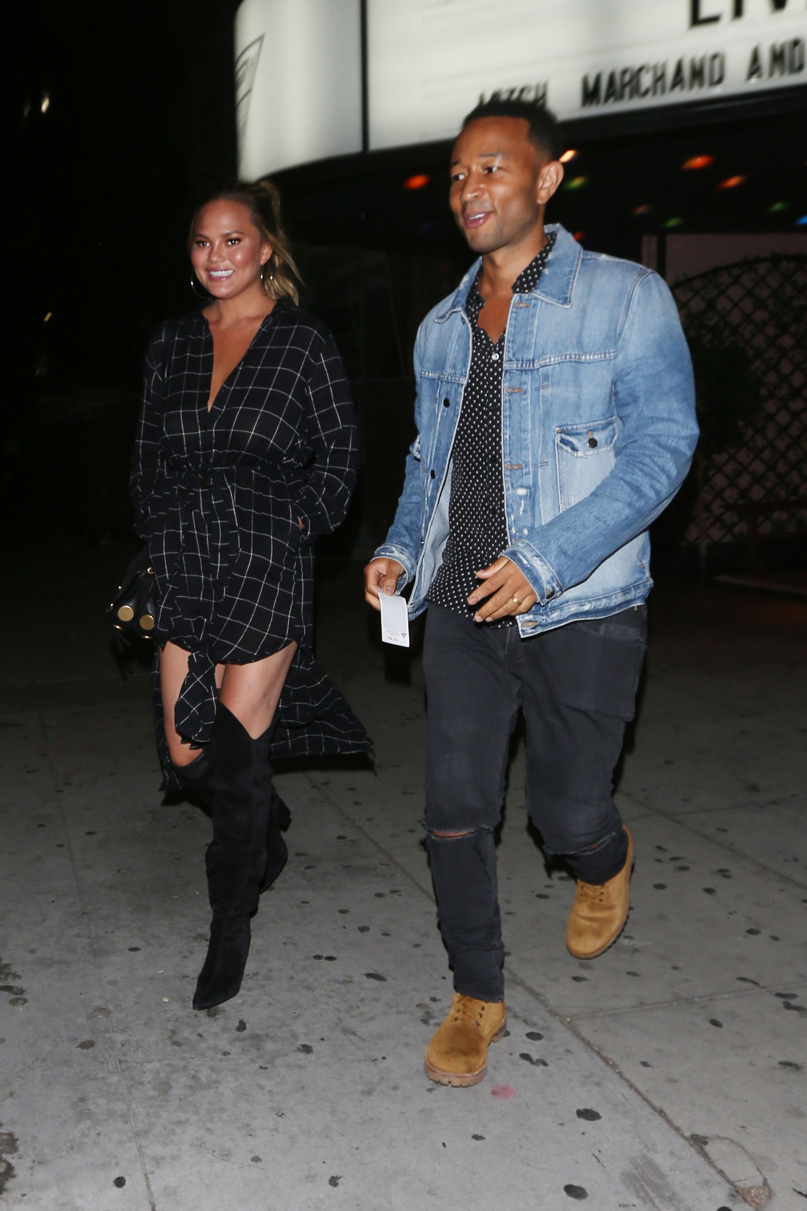 Chrissy Teigen Black Check Shirtdress