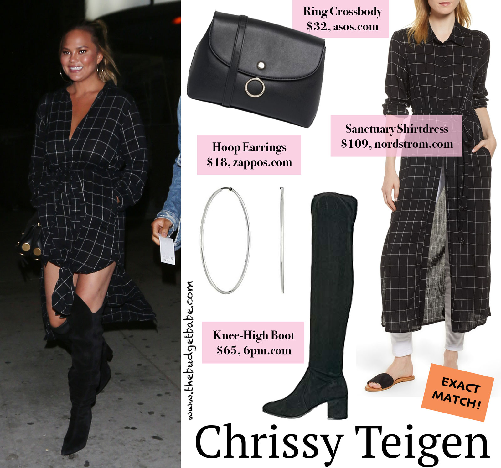 Chrissy Teigen Black Check Shirtdress Look for Less