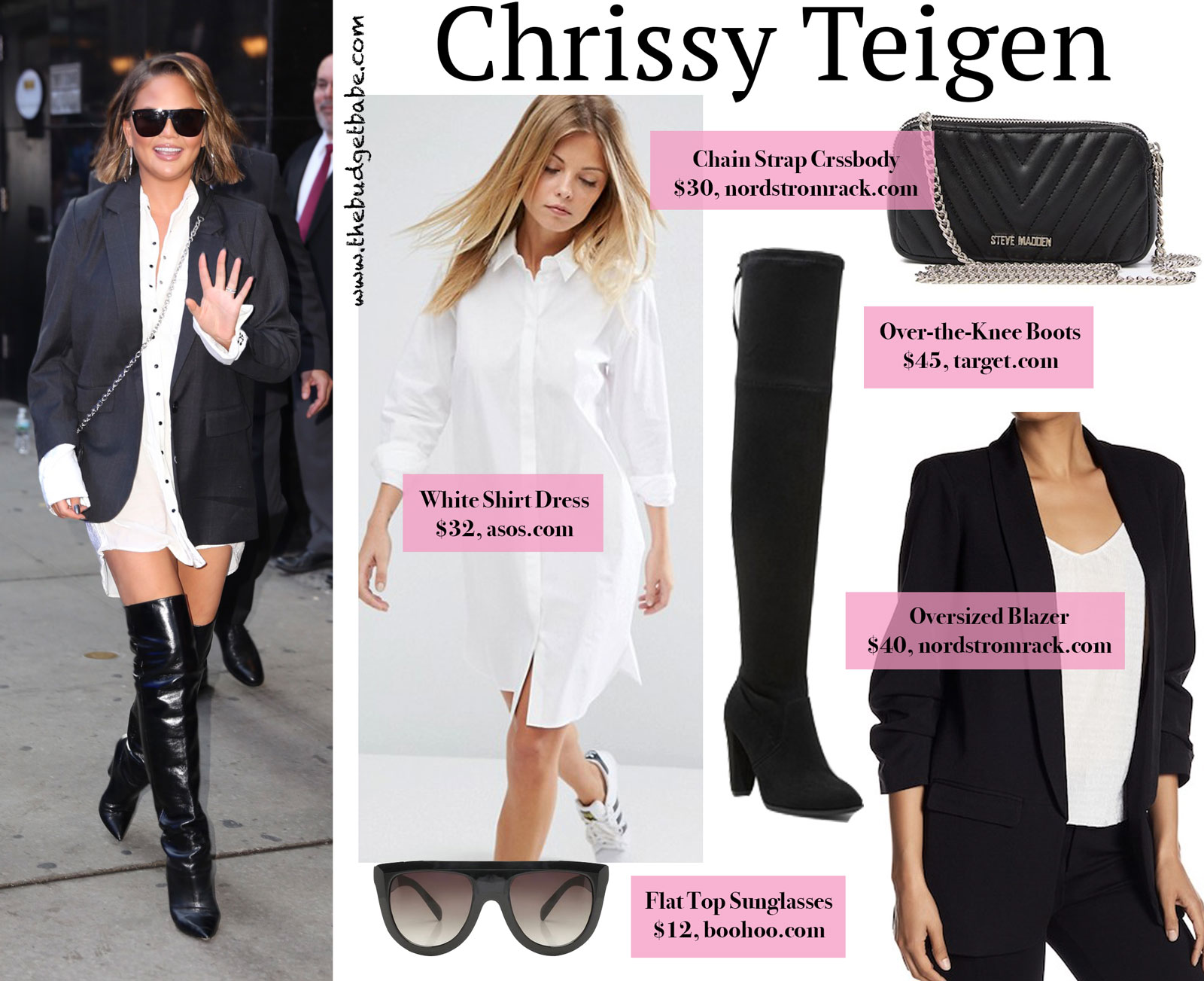 e4d1b59c478 Look for Less  Chrissy Teigen in a White Shirt Dress