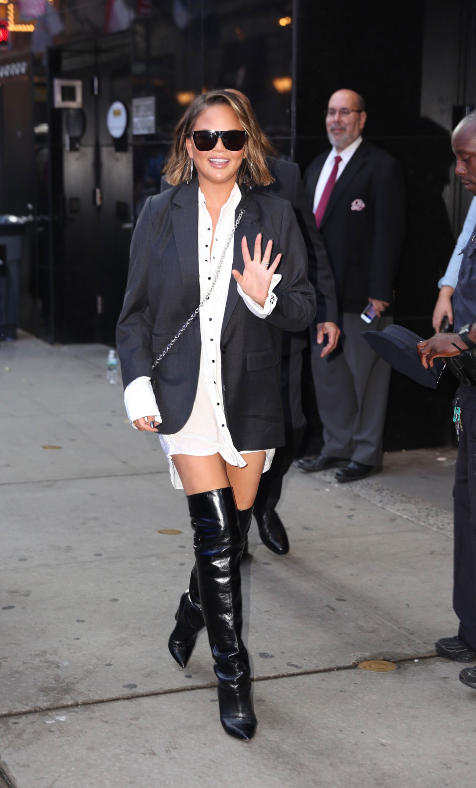 Chrissy Teigen Shirt Dress Over the Knee Boots