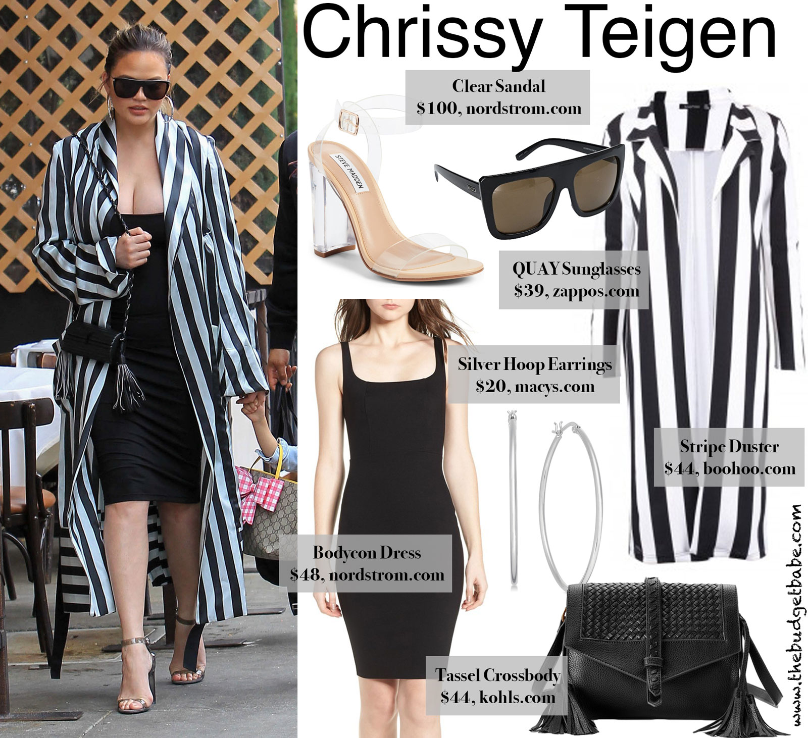Chrissy Teigen Stripe Duster Look for Less