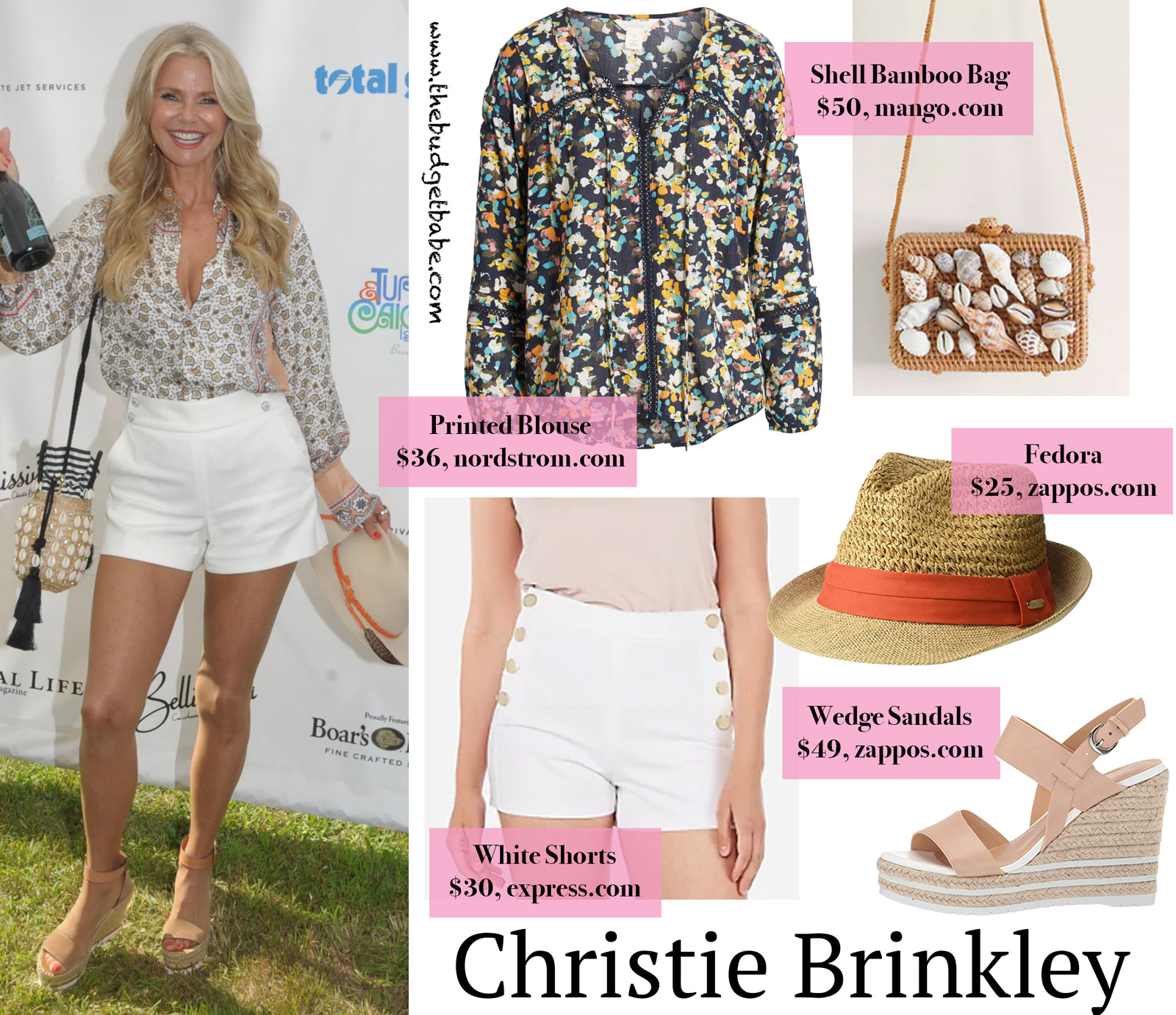 Christie Brinkley's Printed Blouse and White Shorts Look for Less